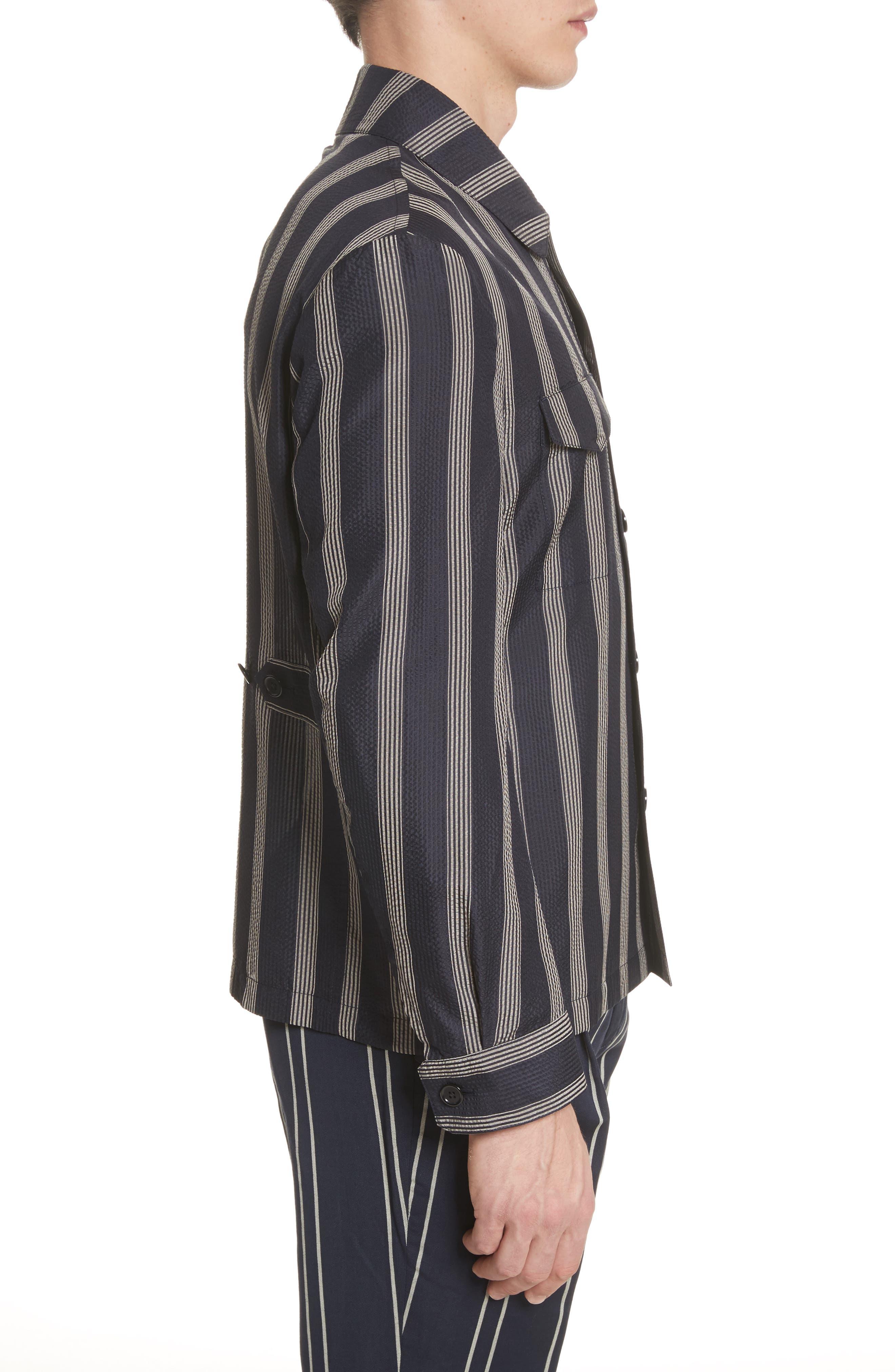 Stripe Silk Shirt,                             Alternate thumbnail 4, color,                             Black/White