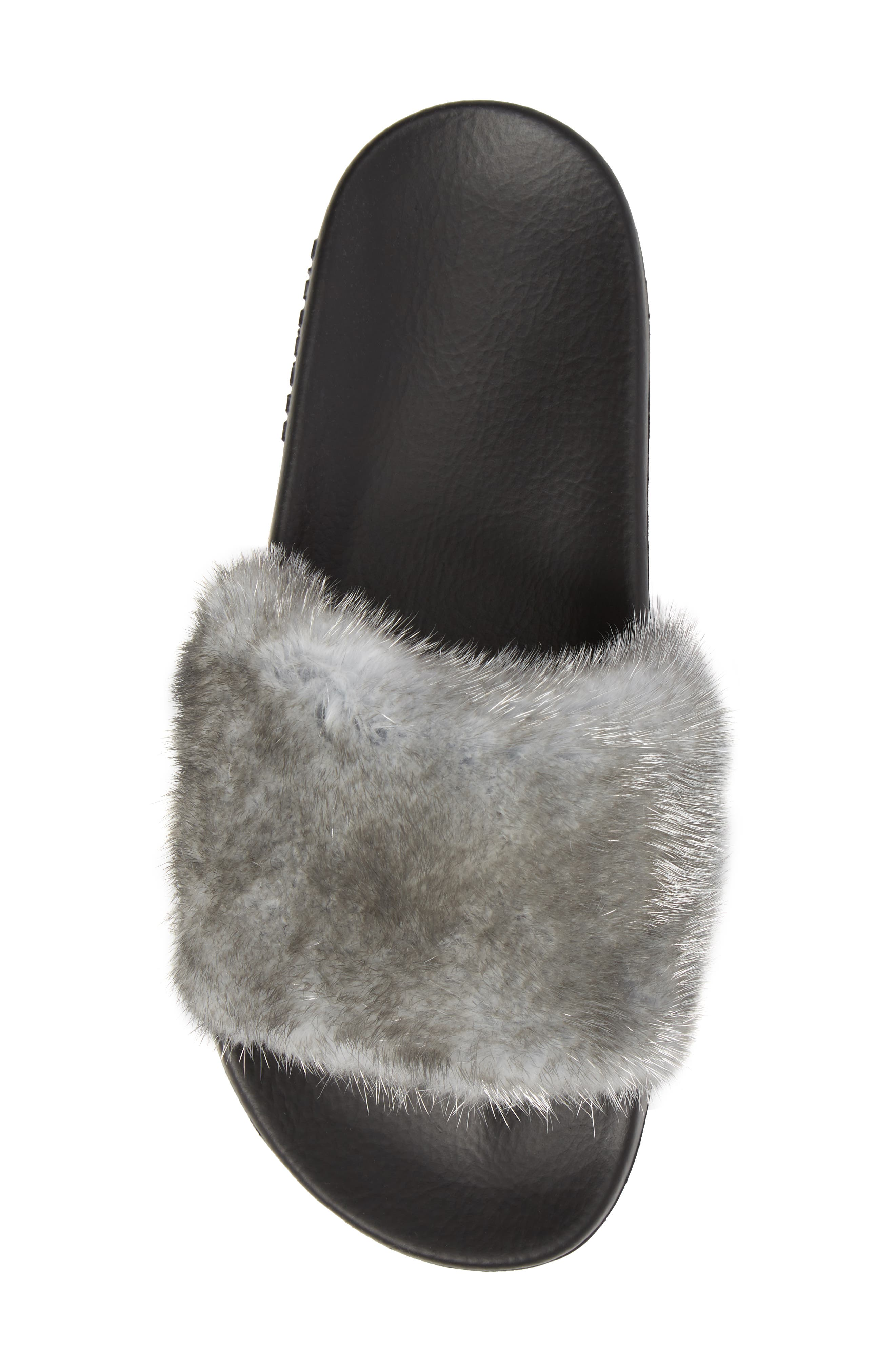 Genuine Mink Fur Slide Sandal,                             Alternate thumbnail 5, color,                             Silver