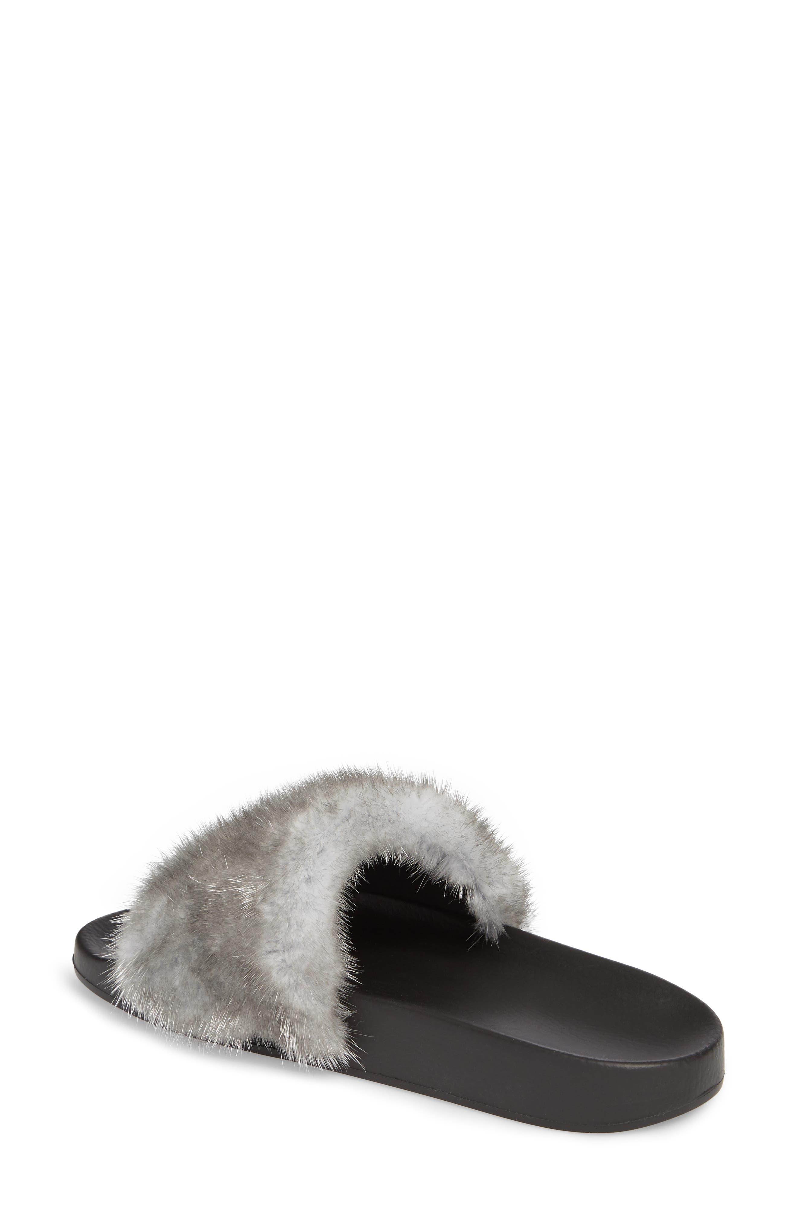 Genuine Mink Fur Slide Sandal,                             Alternate thumbnail 2, color,                             Silver