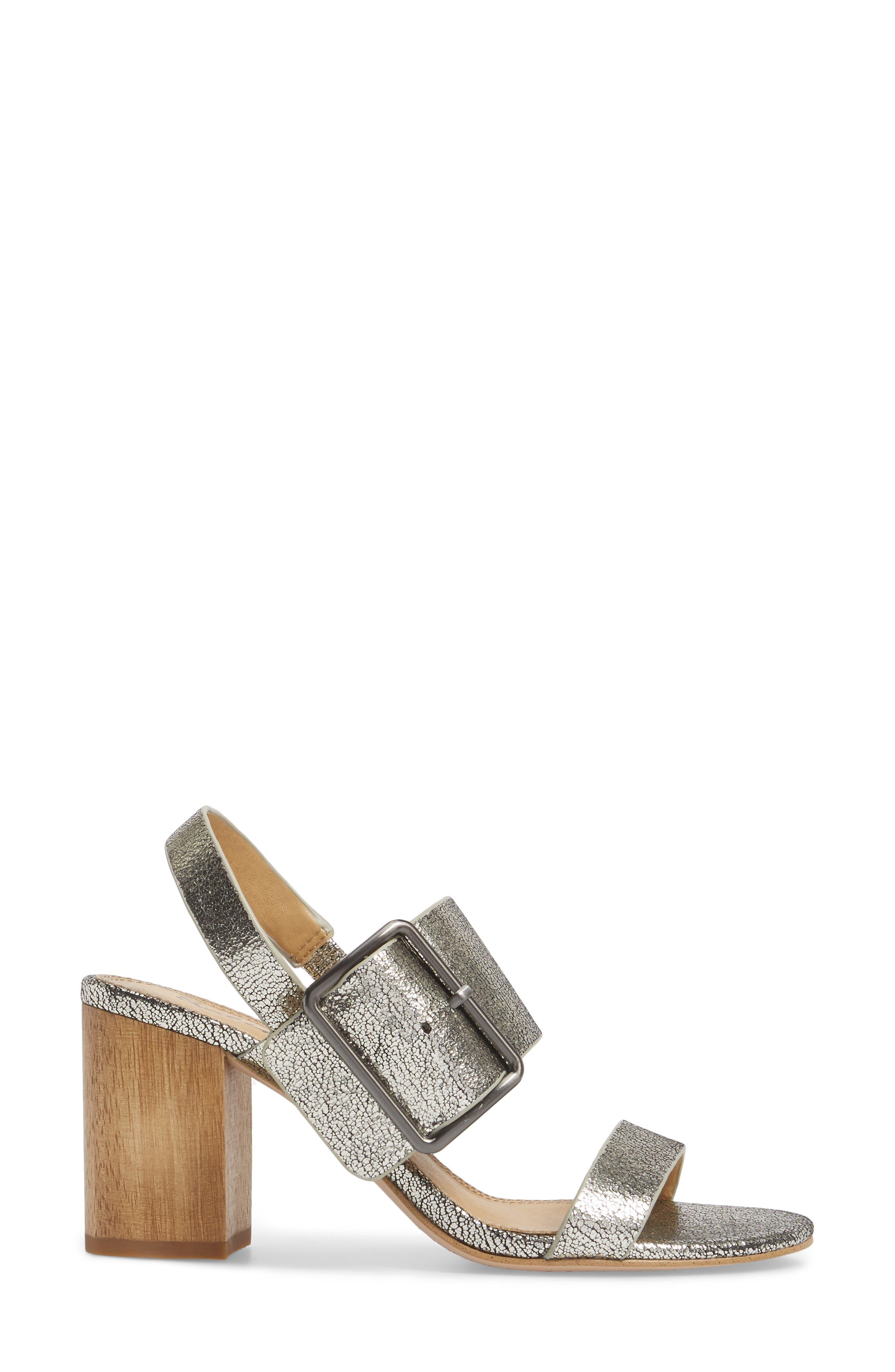 Bo Slingback Sandal,                             Alternate thumbnail 3, color,                             Nickel Metallic Leather