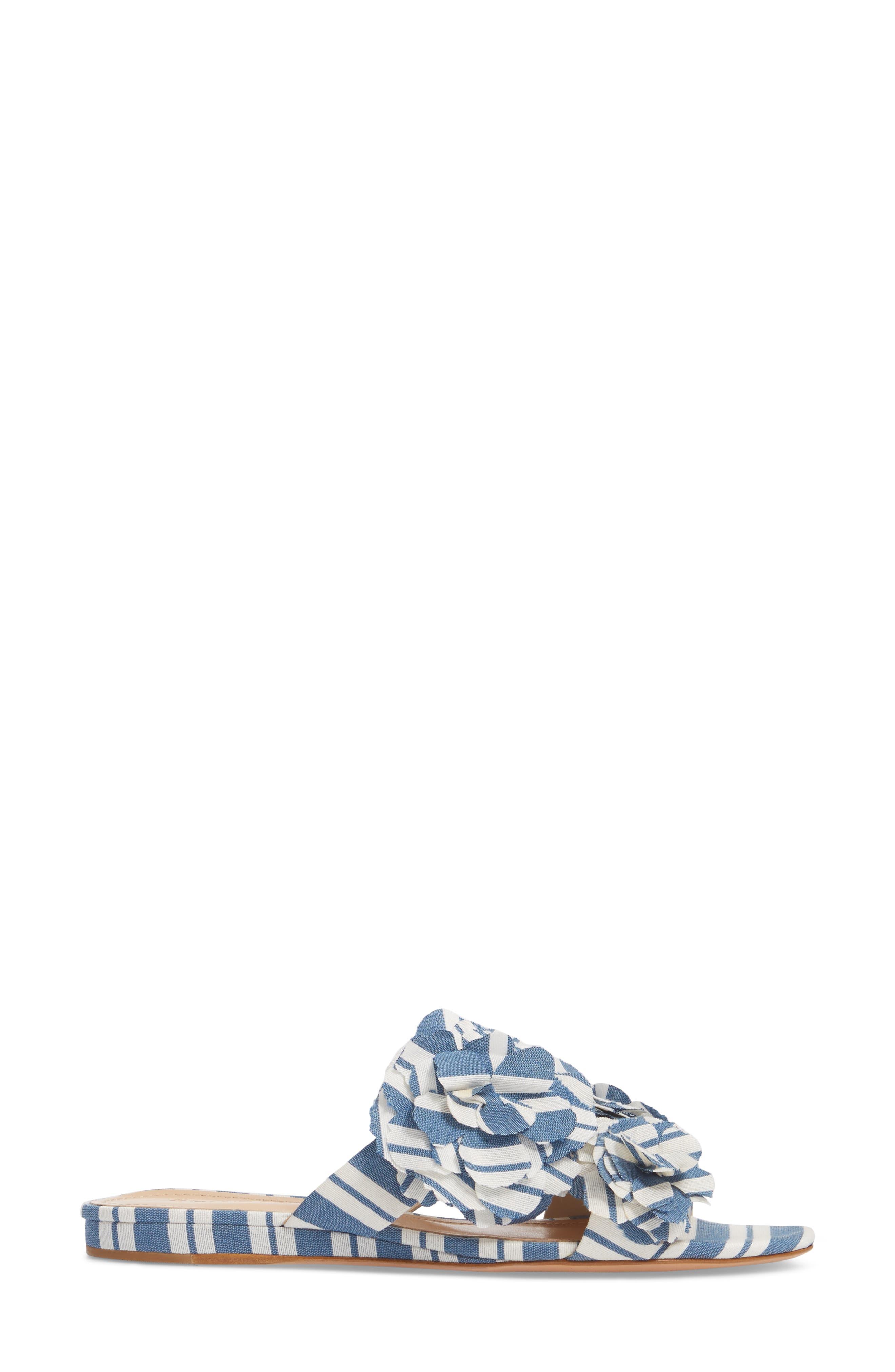 Ilaria Flower Sandal,                             Alternate thumbnail 3, color,                             Dress Blue