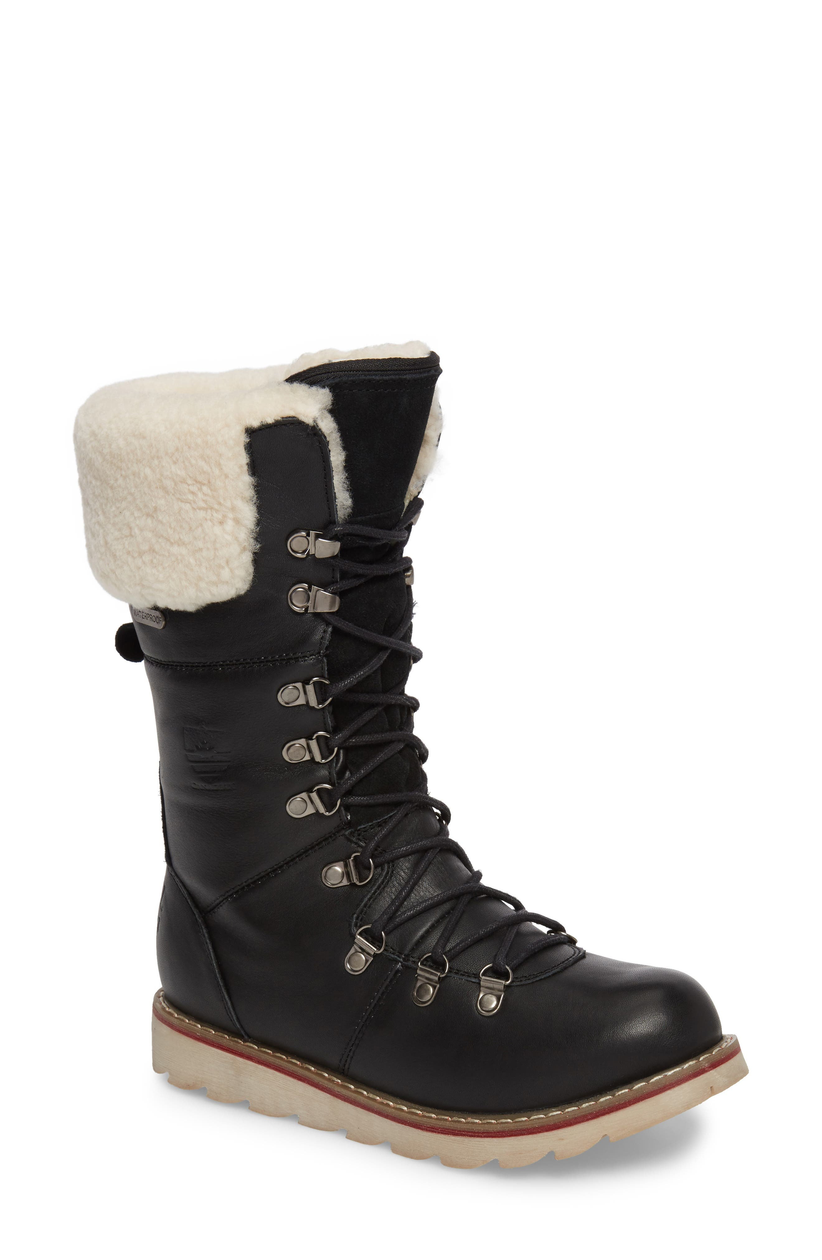 Louise Waterproof Snow Boot with Genuine Shearling Cuff,                             Main thumbnail 1, color,                             Black Leather