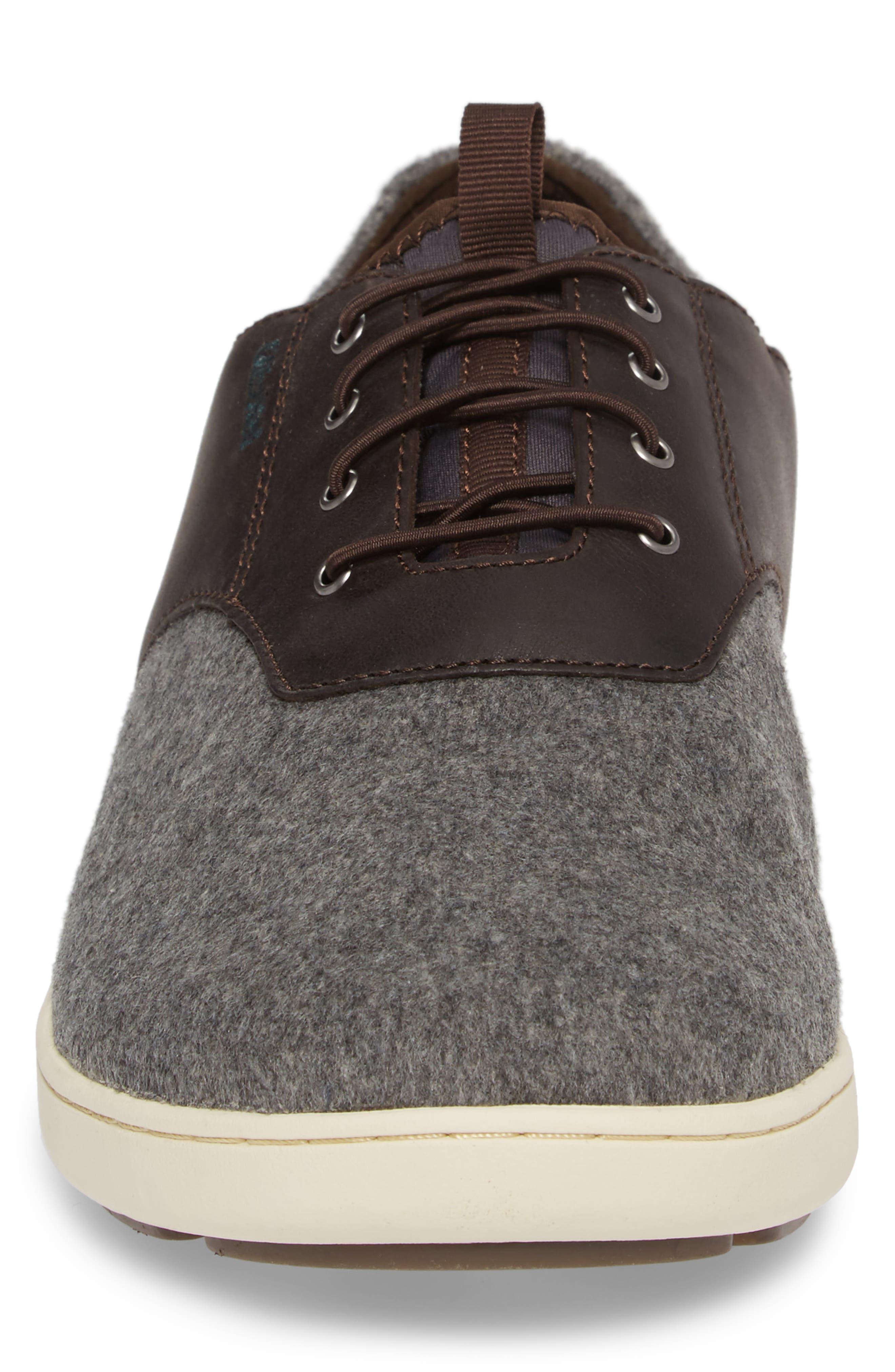 Nohea Moku Hulu Sneaker,                             Alternate thumbnail 4, color,                             Dark Roast/ Charcoal Wool
