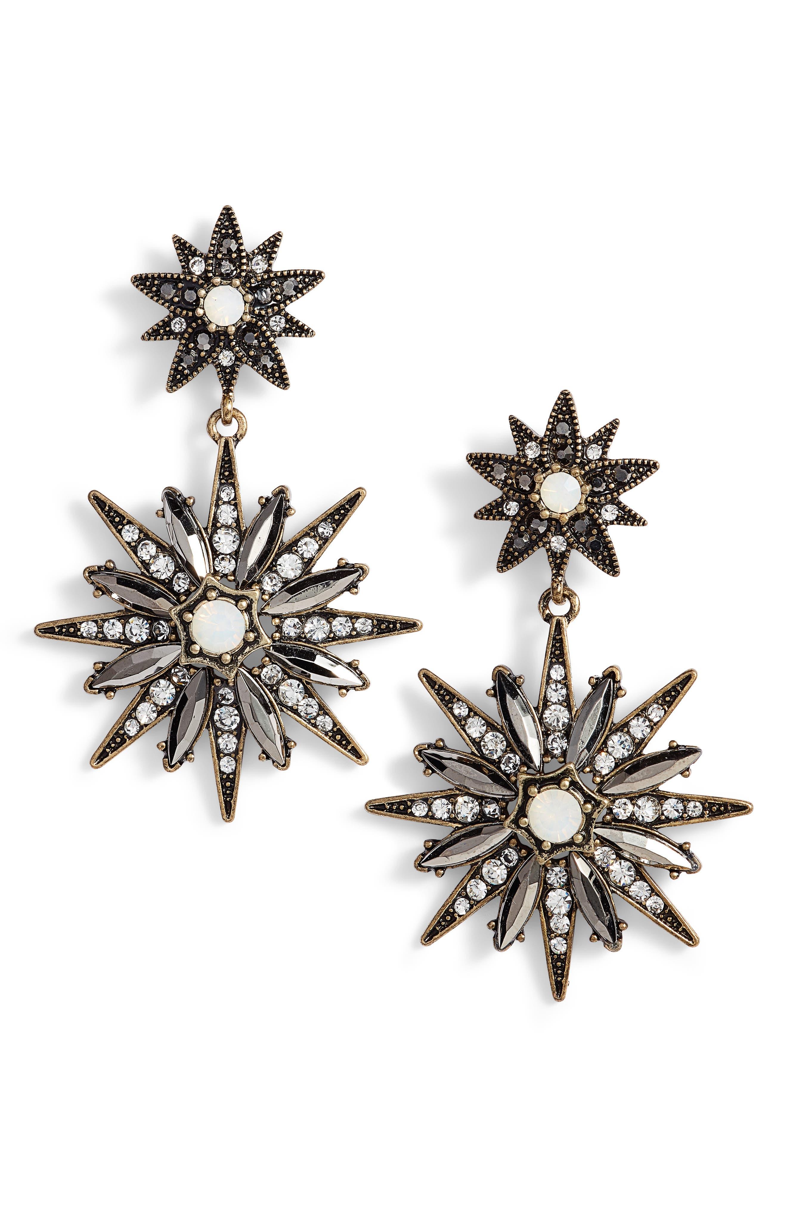 Starburst Statement Earrings,                         Main,                         color, Antique Gold/ Black