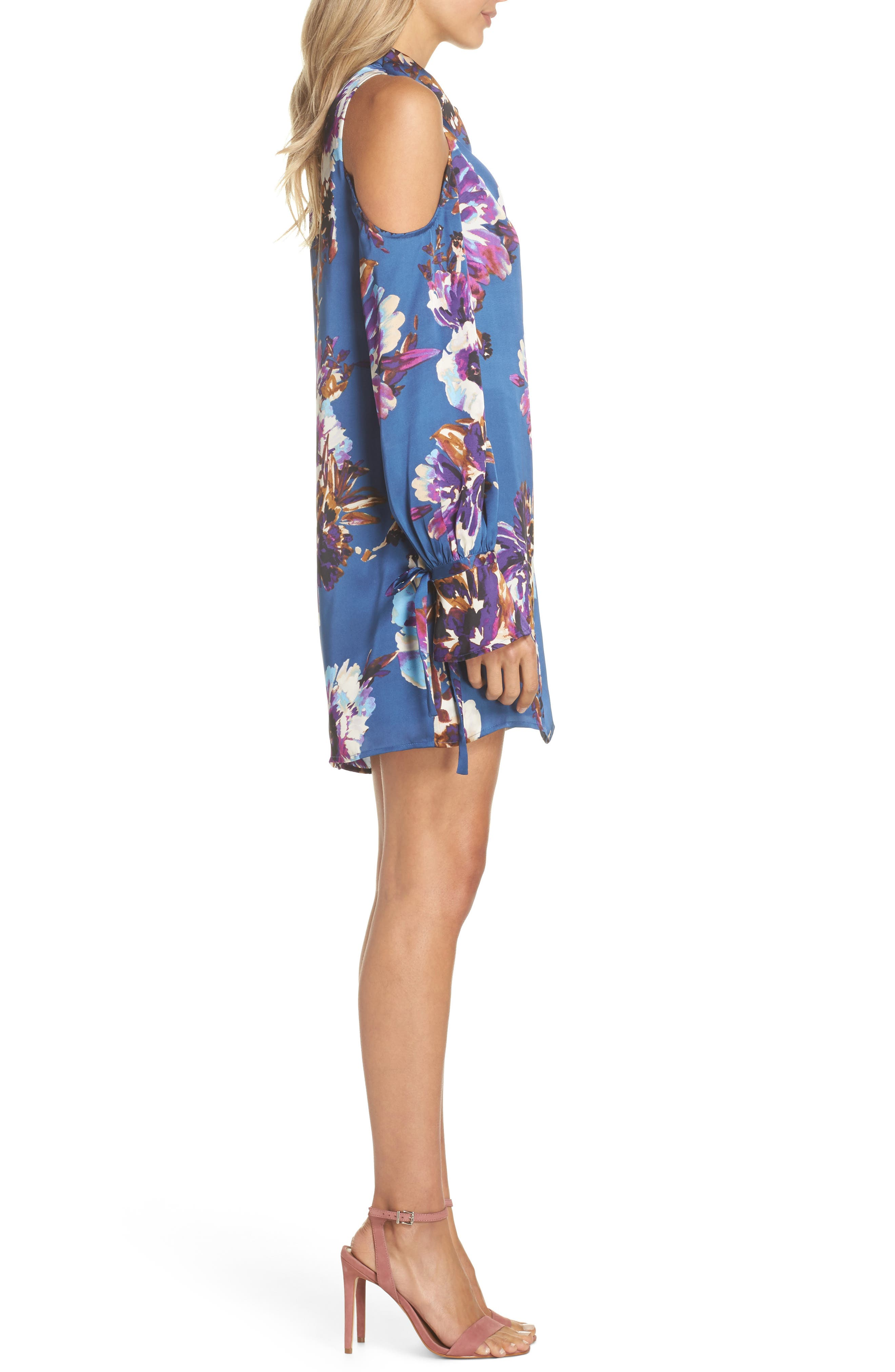 Woman in the Window Minidress,                             Alternate thumbnail 4, color,                             French Blue Floral Satin