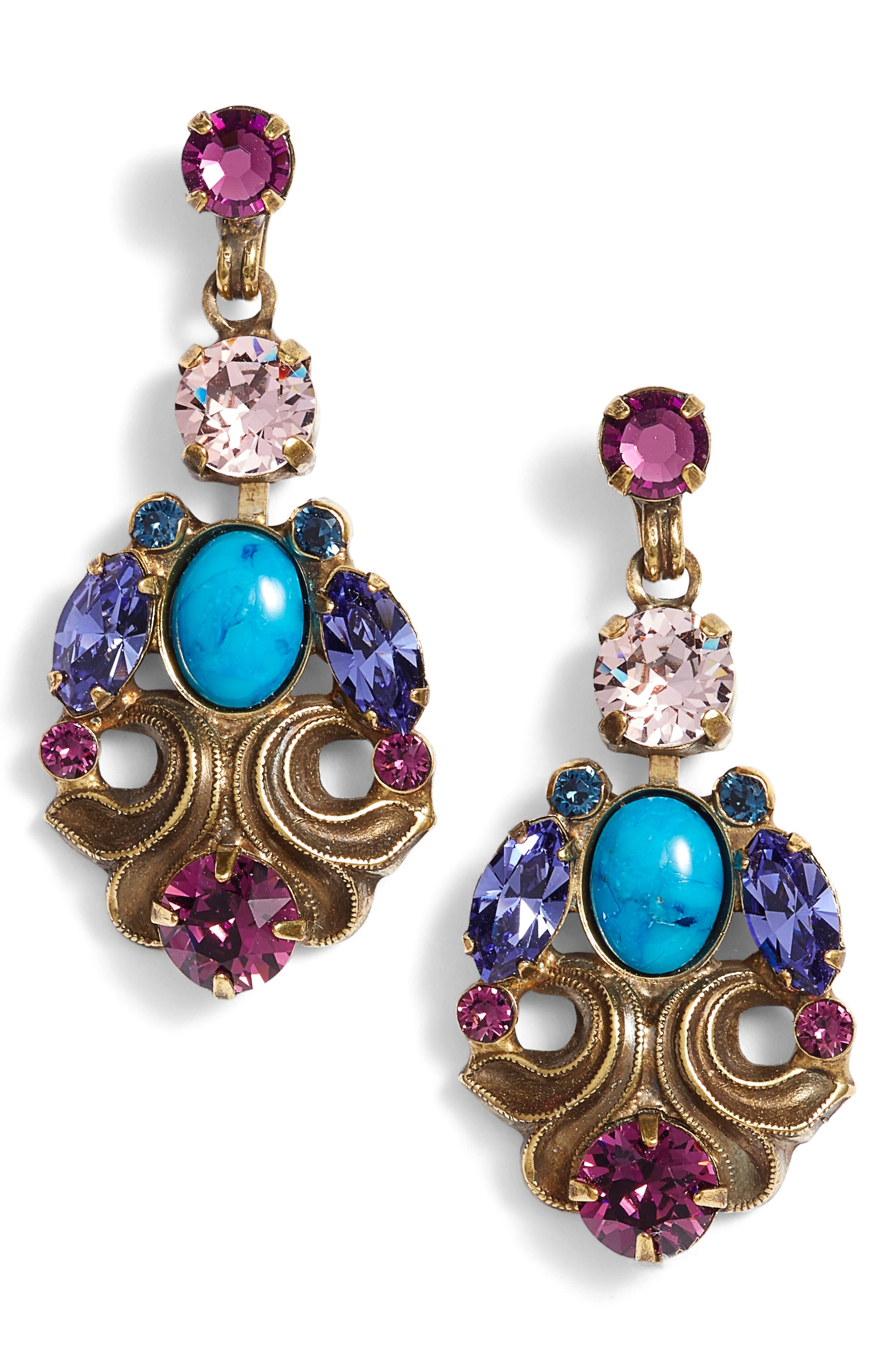 Edelweiss Crystal Drop Earrings,                             Main thumbnail 1, color,                             Multi