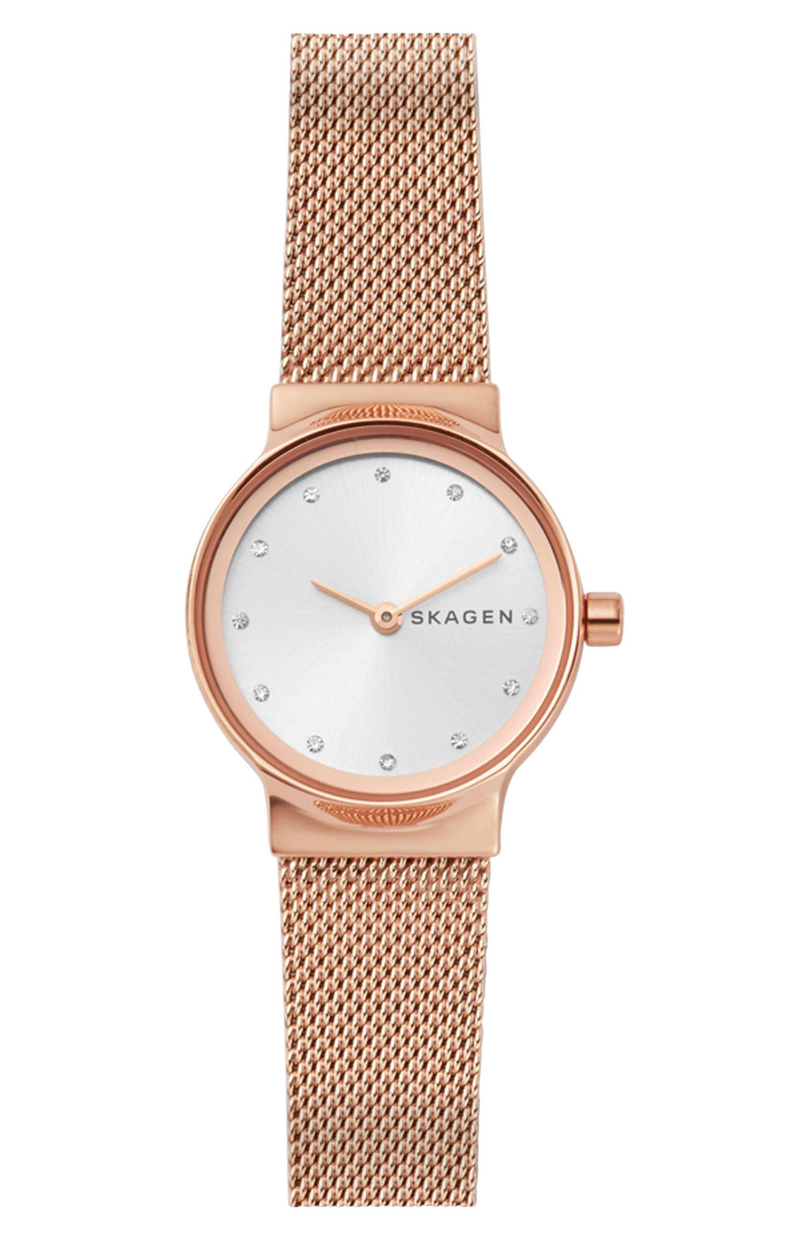 Main Image - Skagen Freja Crystal Accent Mesh Strap Watch, 26mm