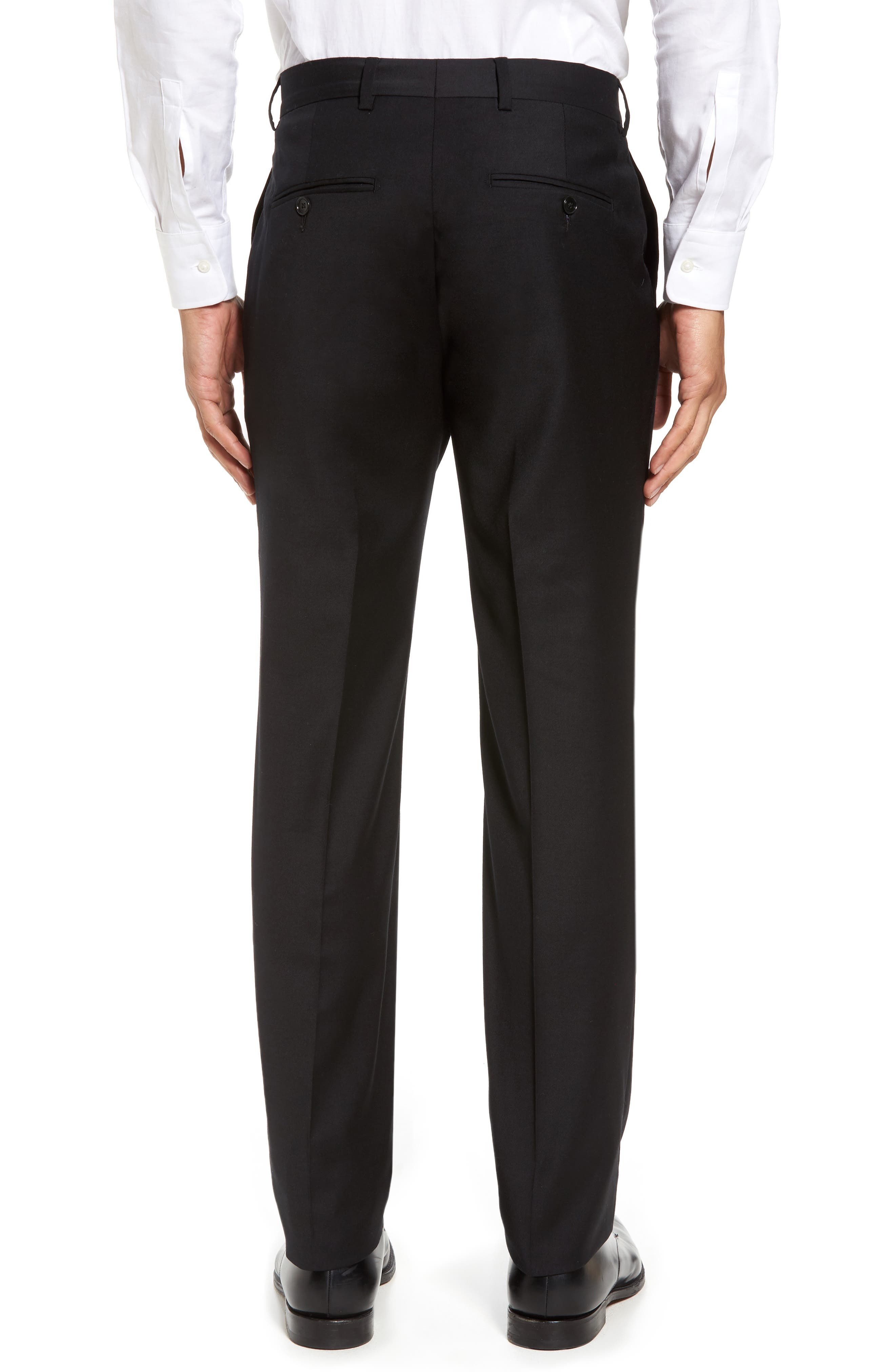 Flat Front Stretch Solid Wool Trousers,                             Alternate thumbnail 2, color,                             Black
