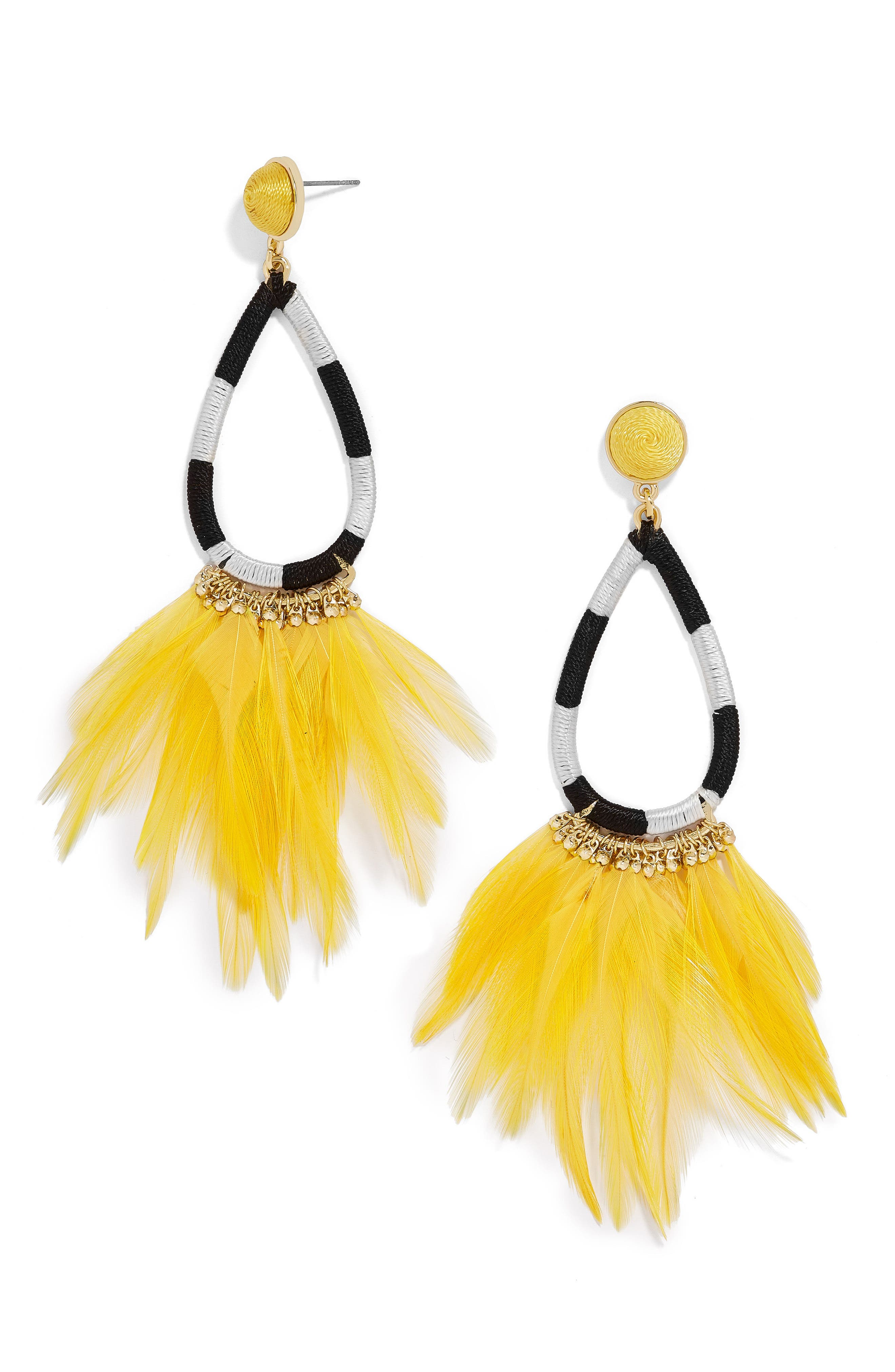 Marigold Feather Shoulder Duster Earrings,                             Main thumbnail 1, color,                             Neon Yellow