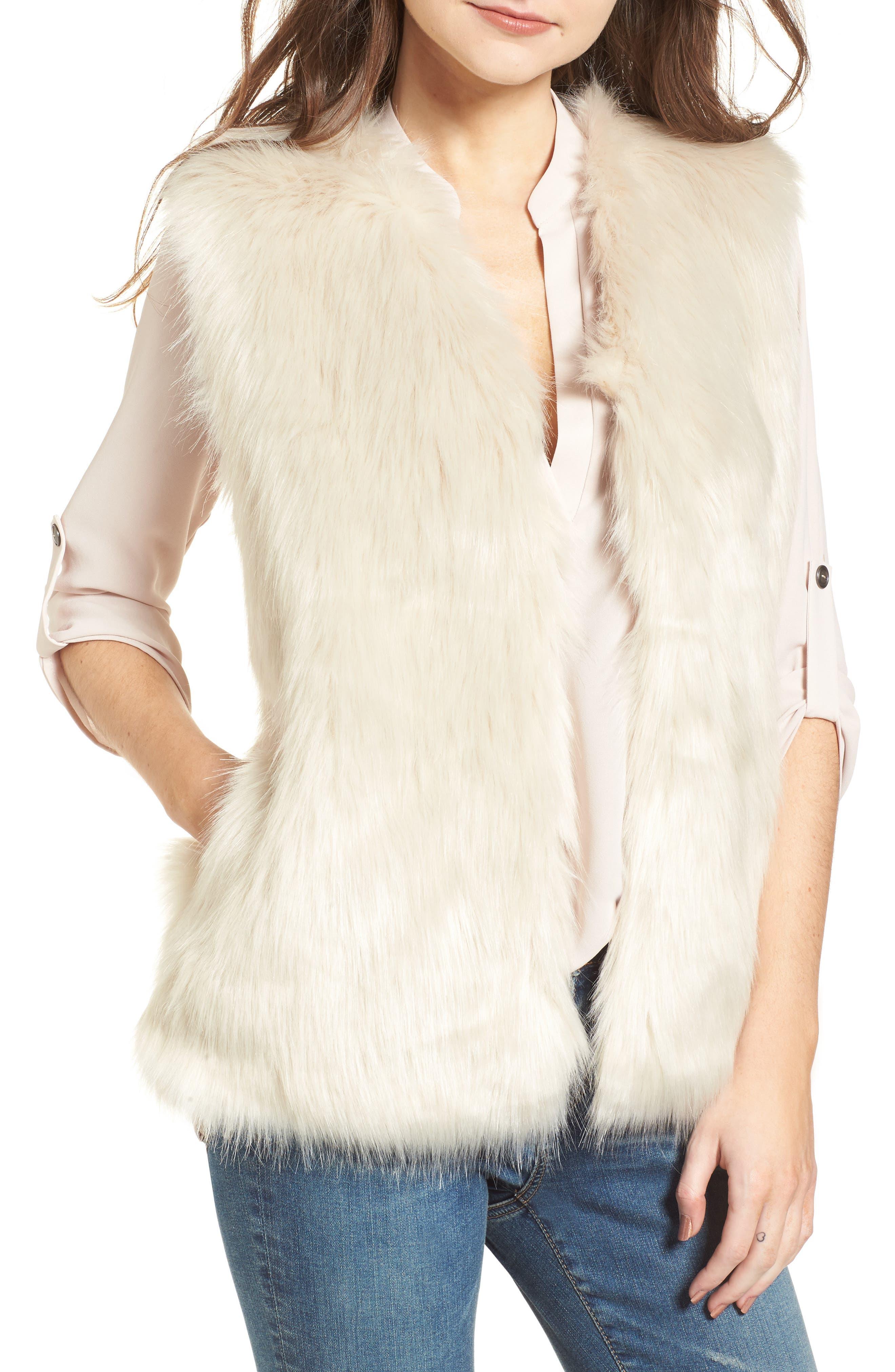 Faux Fur Vest,                         Main,                         color, Cream