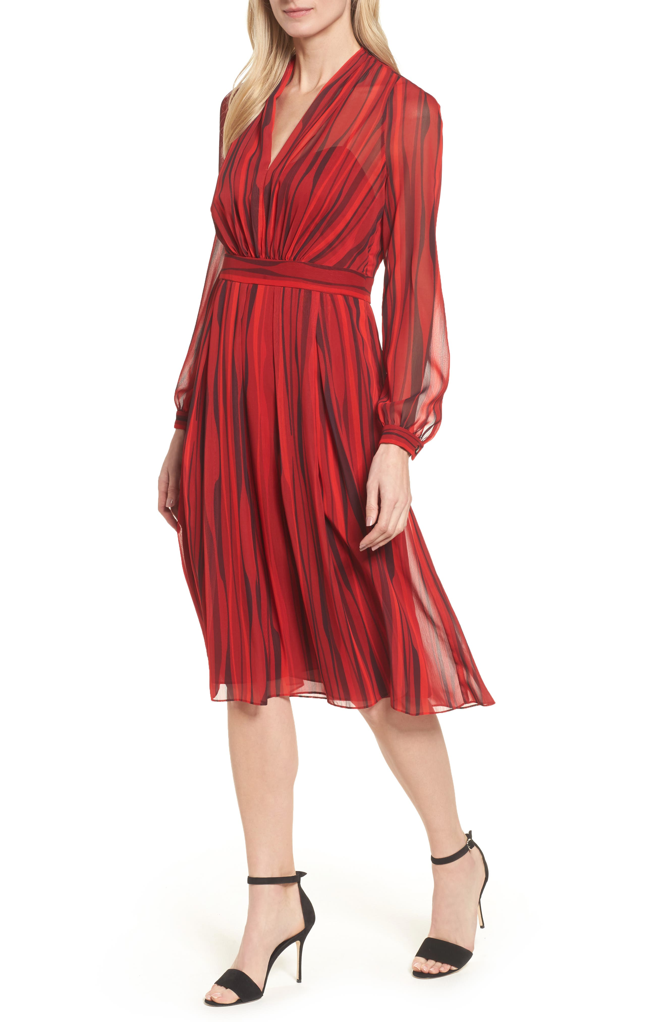 Fit & Flare Dress,                             Main thumbnail 1, color,                             Titian Red/ Black Combo