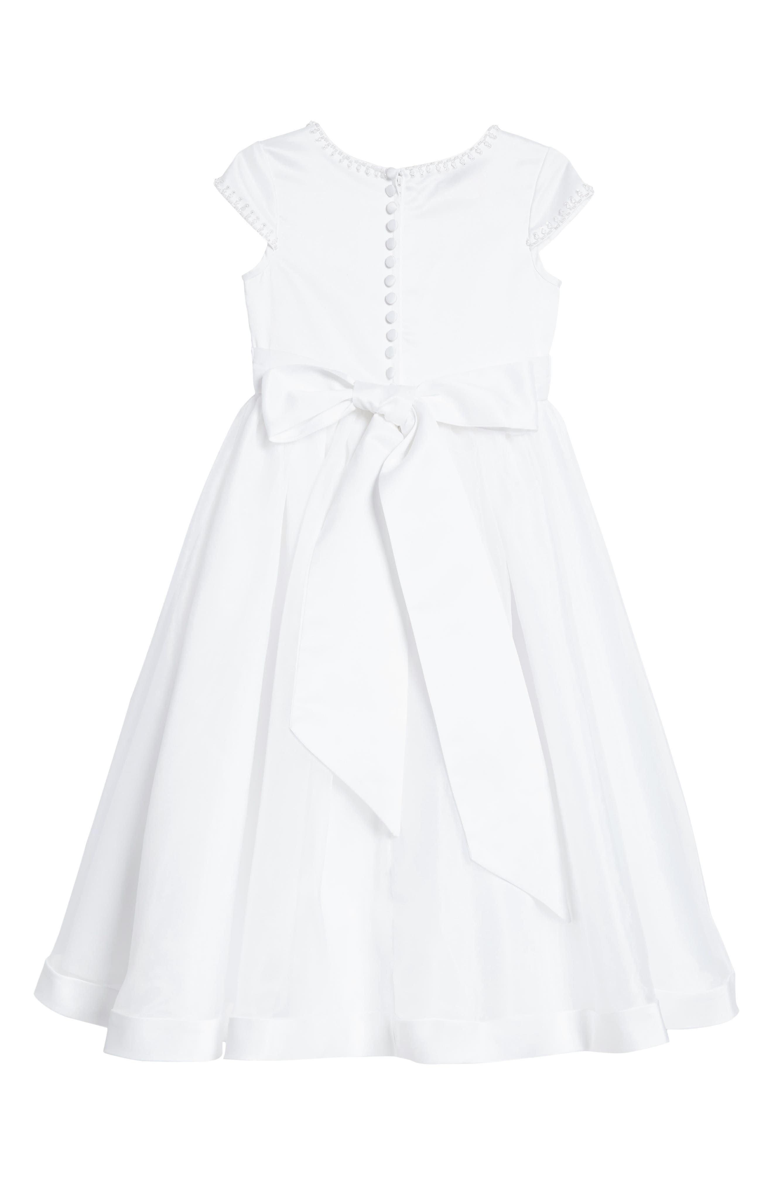 Beaded Cap Sleeve Dress,                             Alternate thumbnail 2, color,                             White