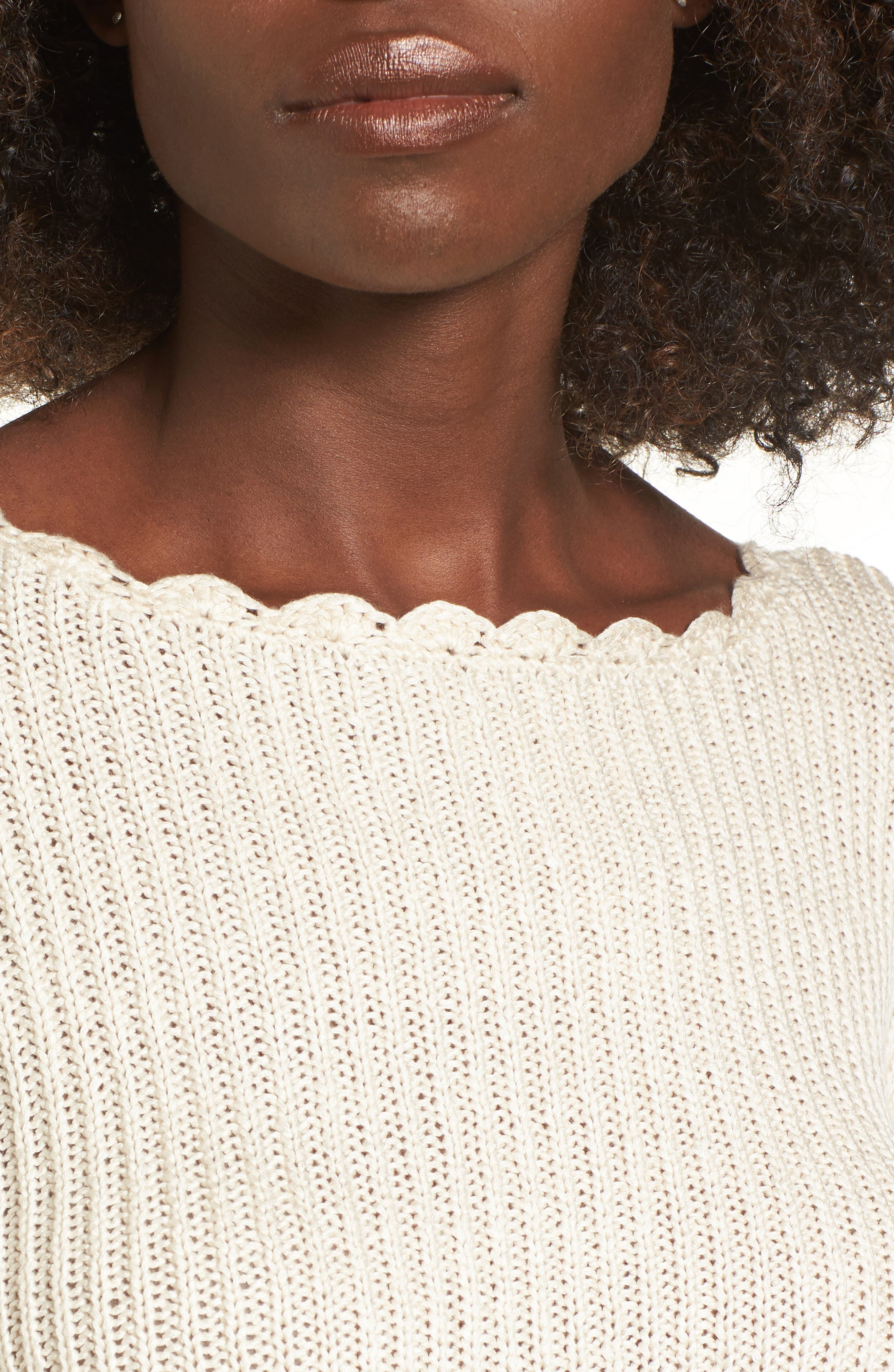Scallop Edge Sweater,                             Alternate thumbnail 4, color,                             Ivory