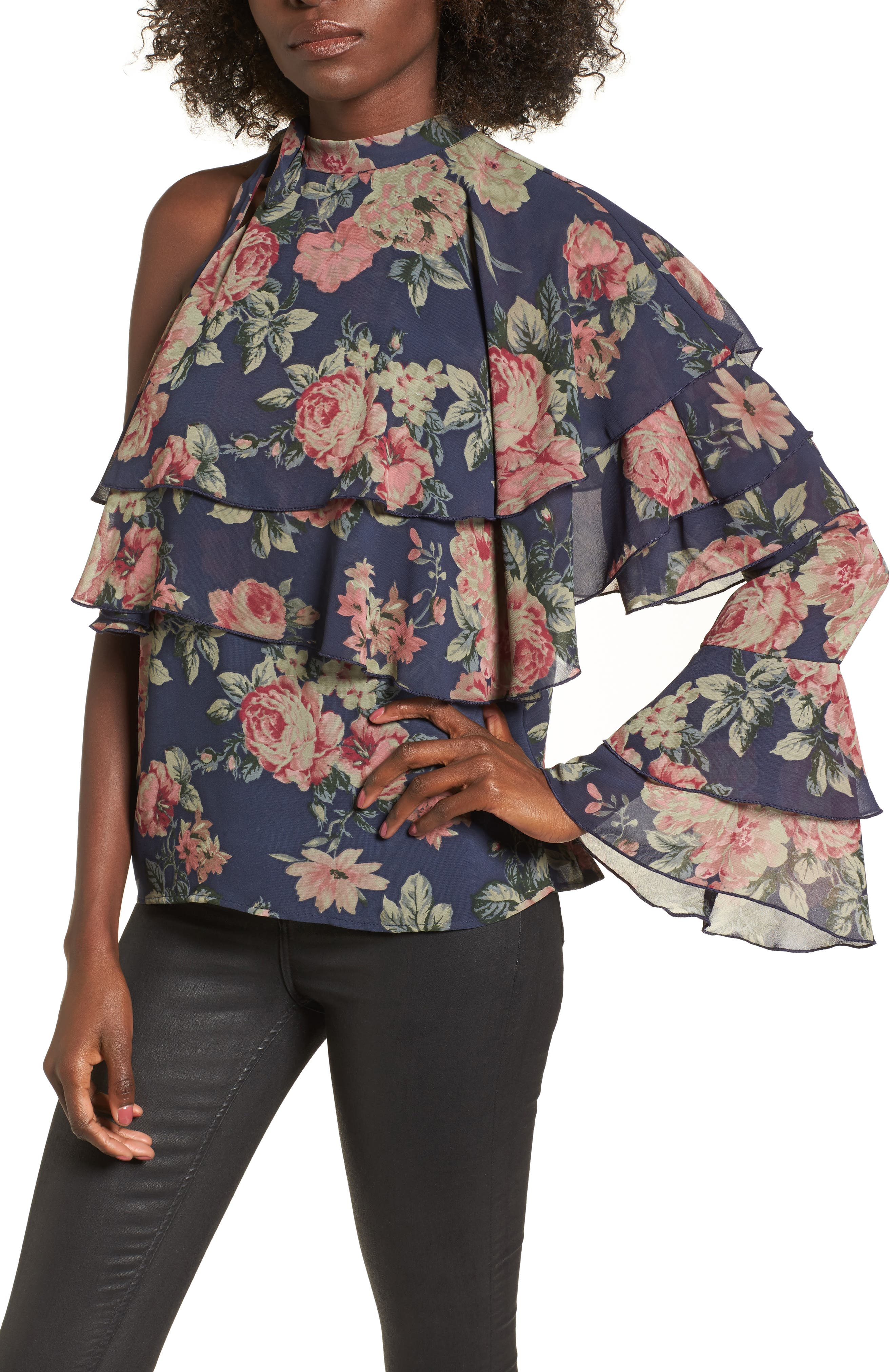 Ruffle One-Shoulder Top,                         Main,                         color, Dusty Blue Floral