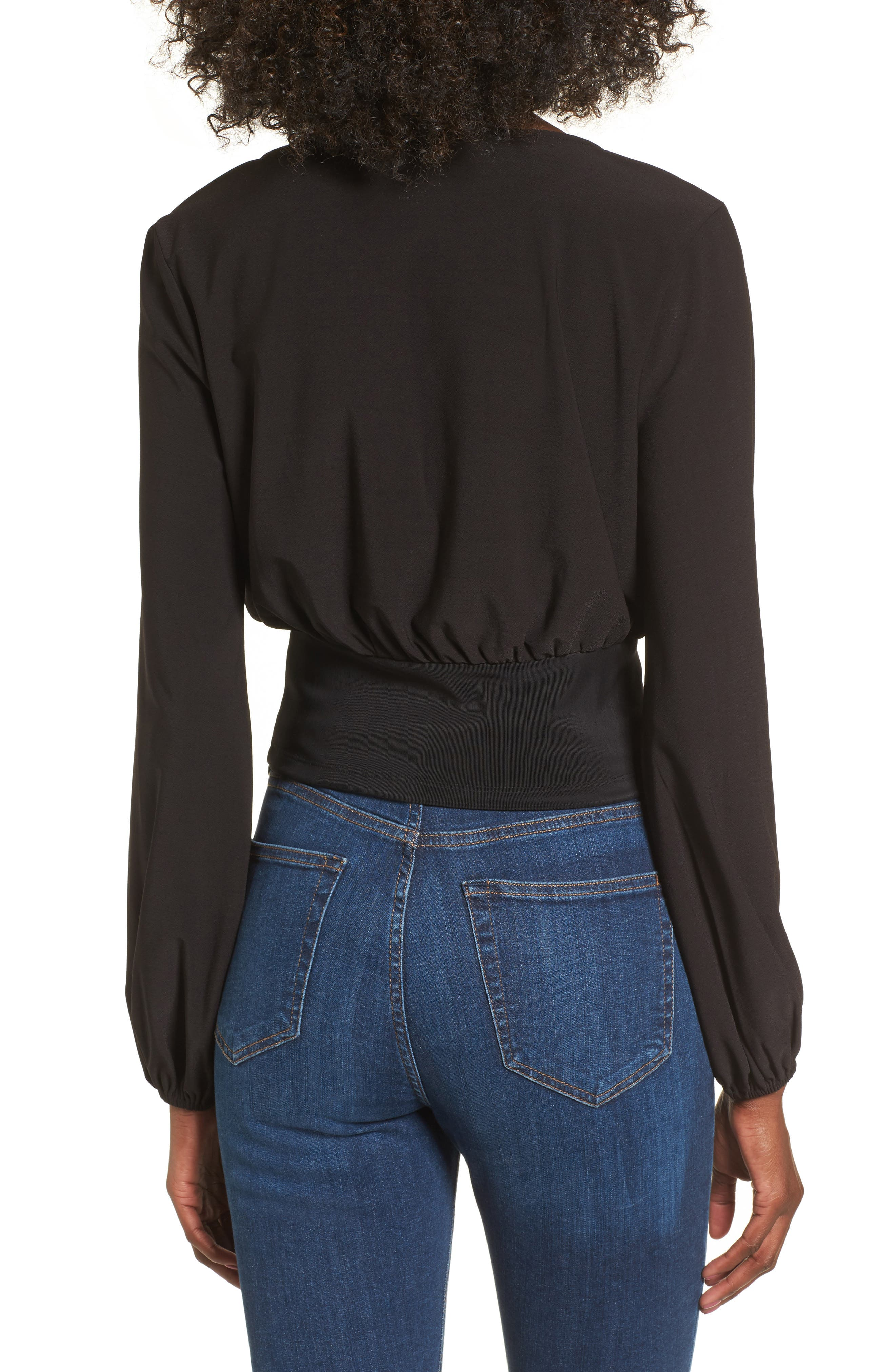 Blouson Banded Top,                             Alternate thumbnail 2, color,                             Black