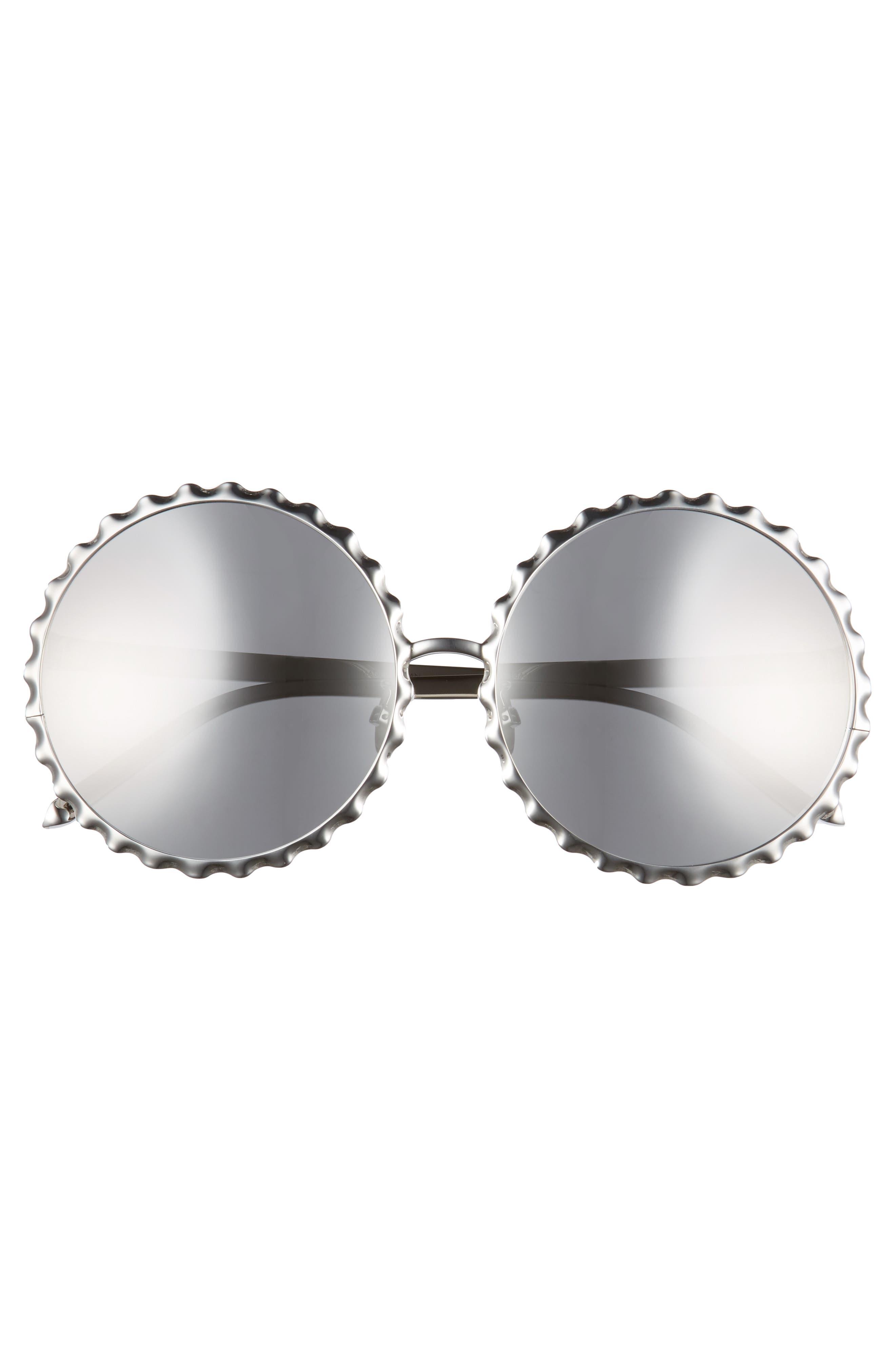59mm Mirrored 18 Karat Gold Trim Round Sunglasses,                             Alternate thumbnail 3, color,                             White Gold/ Platinum