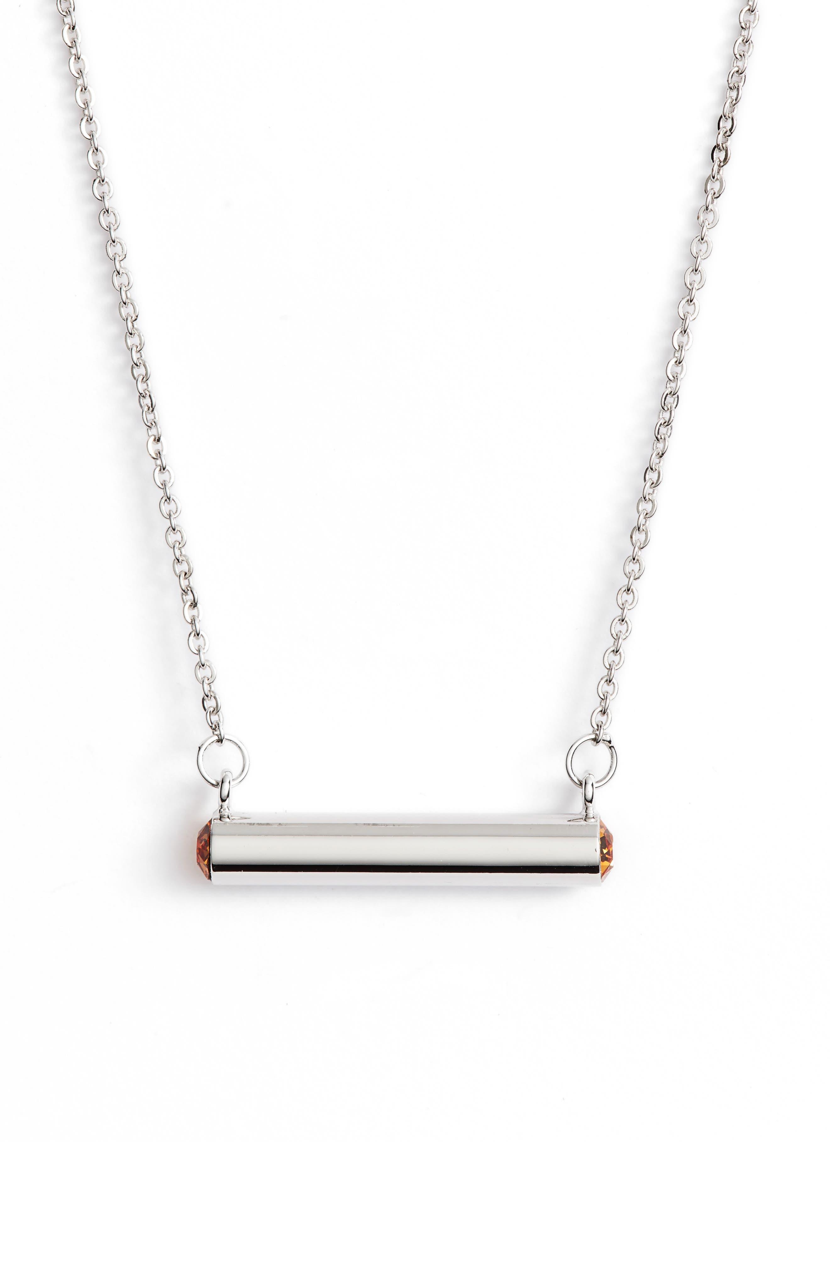 Stella Valle November Crystal Bar Pendant Necklace