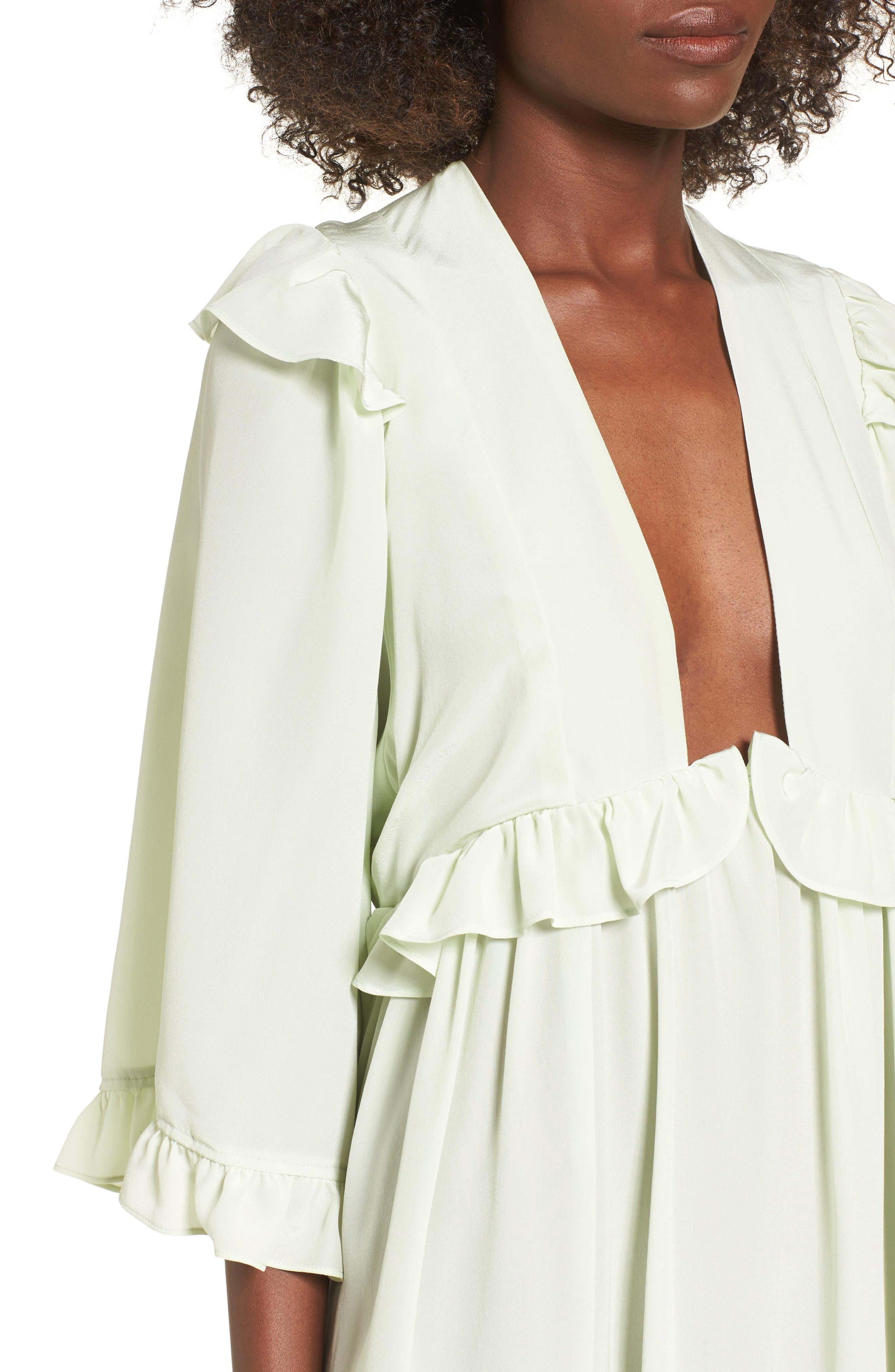 Angeles Babydoll Dress,                             Alternate thumbnail 4, color,                             Baby Green Silk