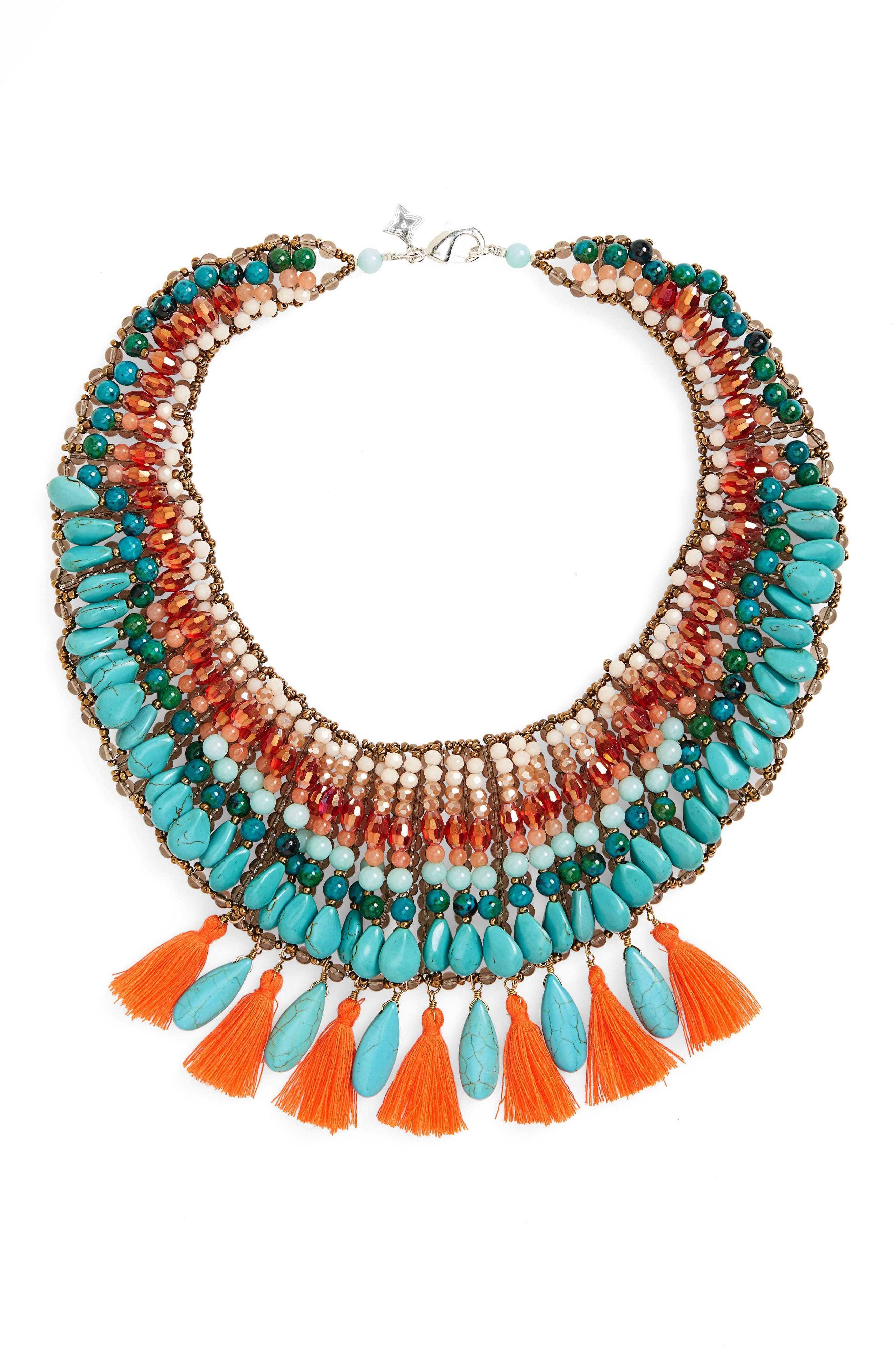 Tassel & Stone Statement Necklace,                         Main,                         color, Multi