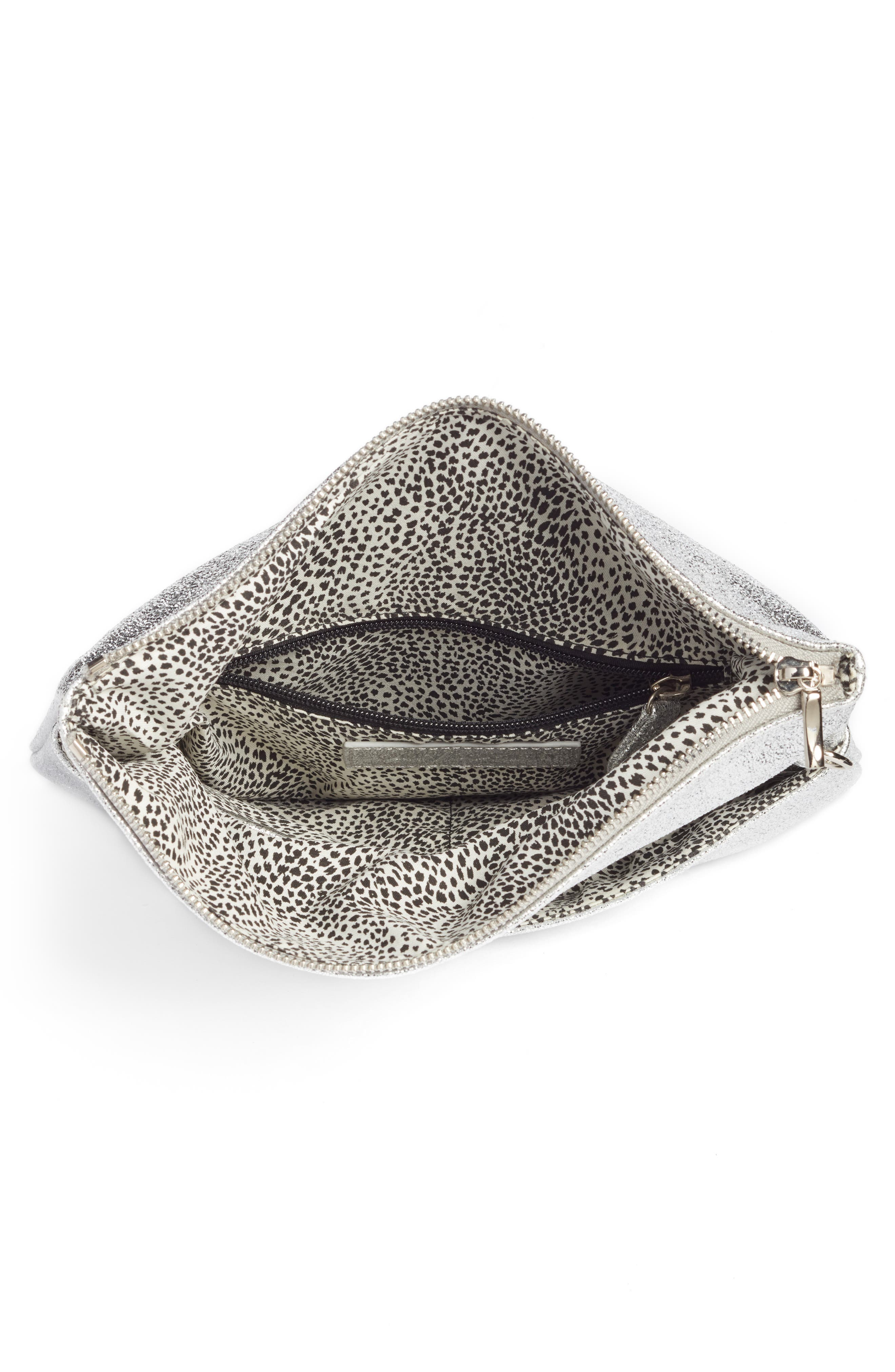 Maci Crinkle Faux Leather Foldover Clutch,                             Alternate thumbnail 4, color,                             Silver
