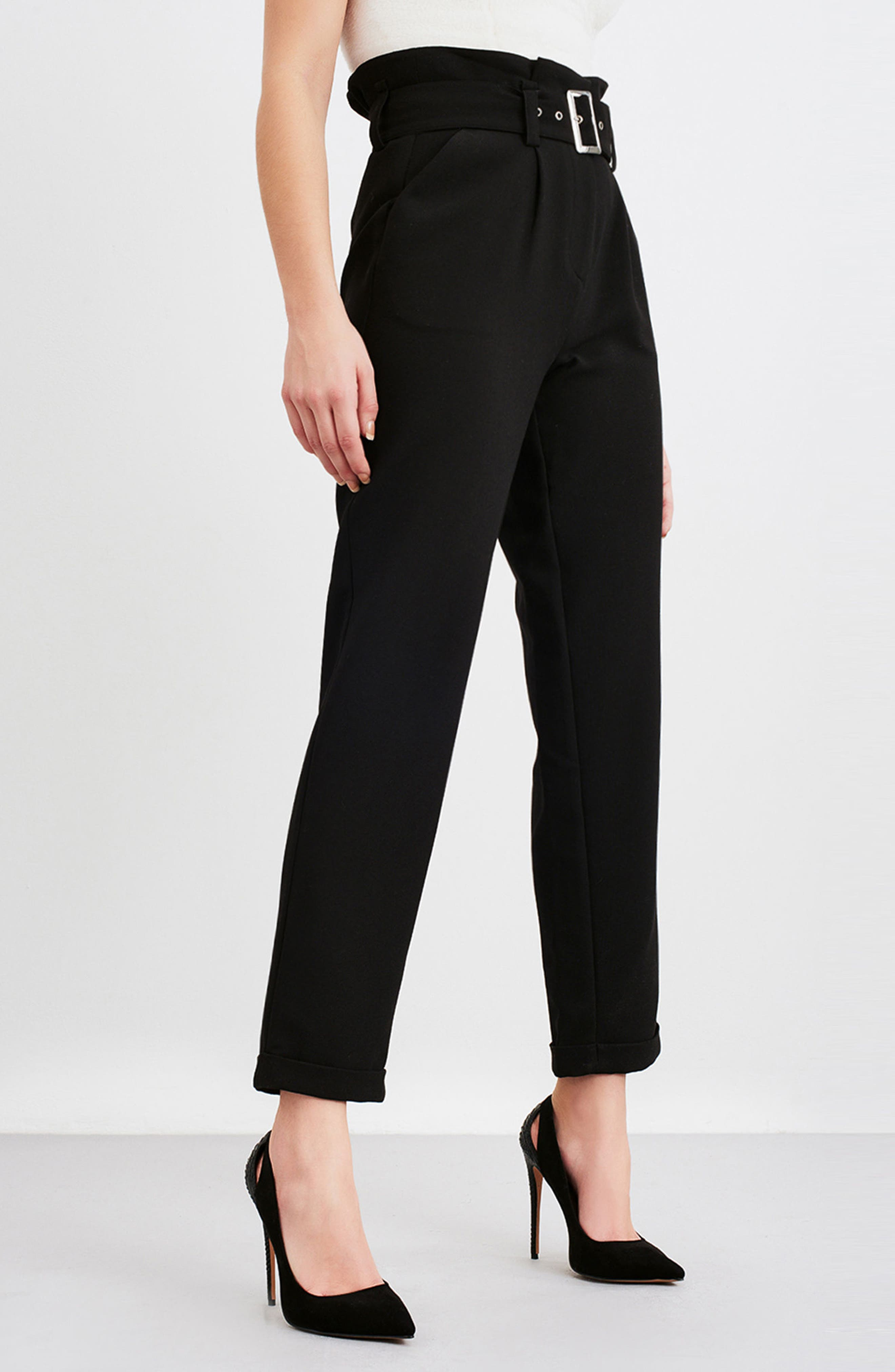 Alternate Image 2  - LOST INK Paperbag Waist Trousers