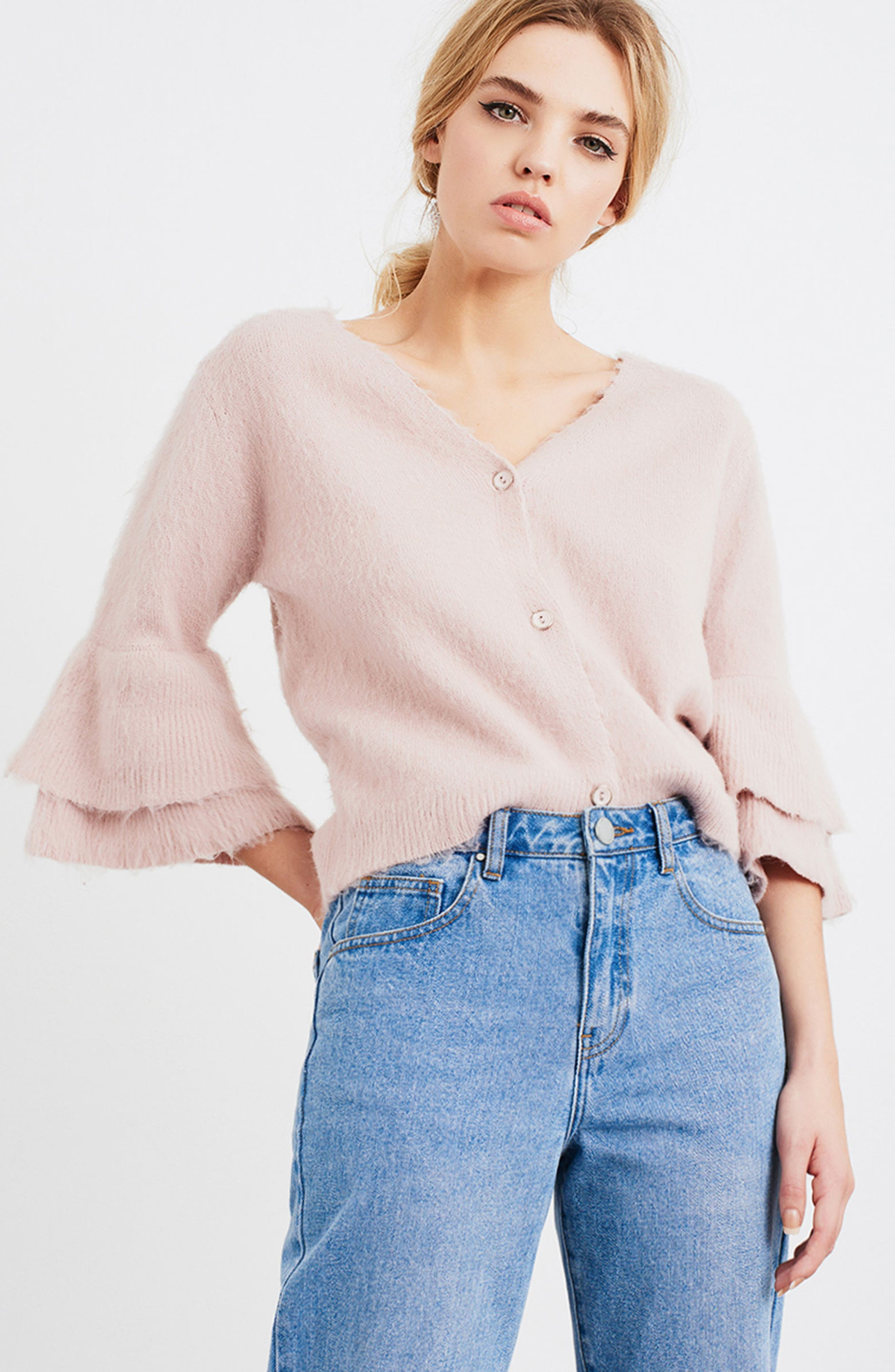 Tiered Sleeve Cardigan,                             Alternate thumbnail 2, color,                             Pink