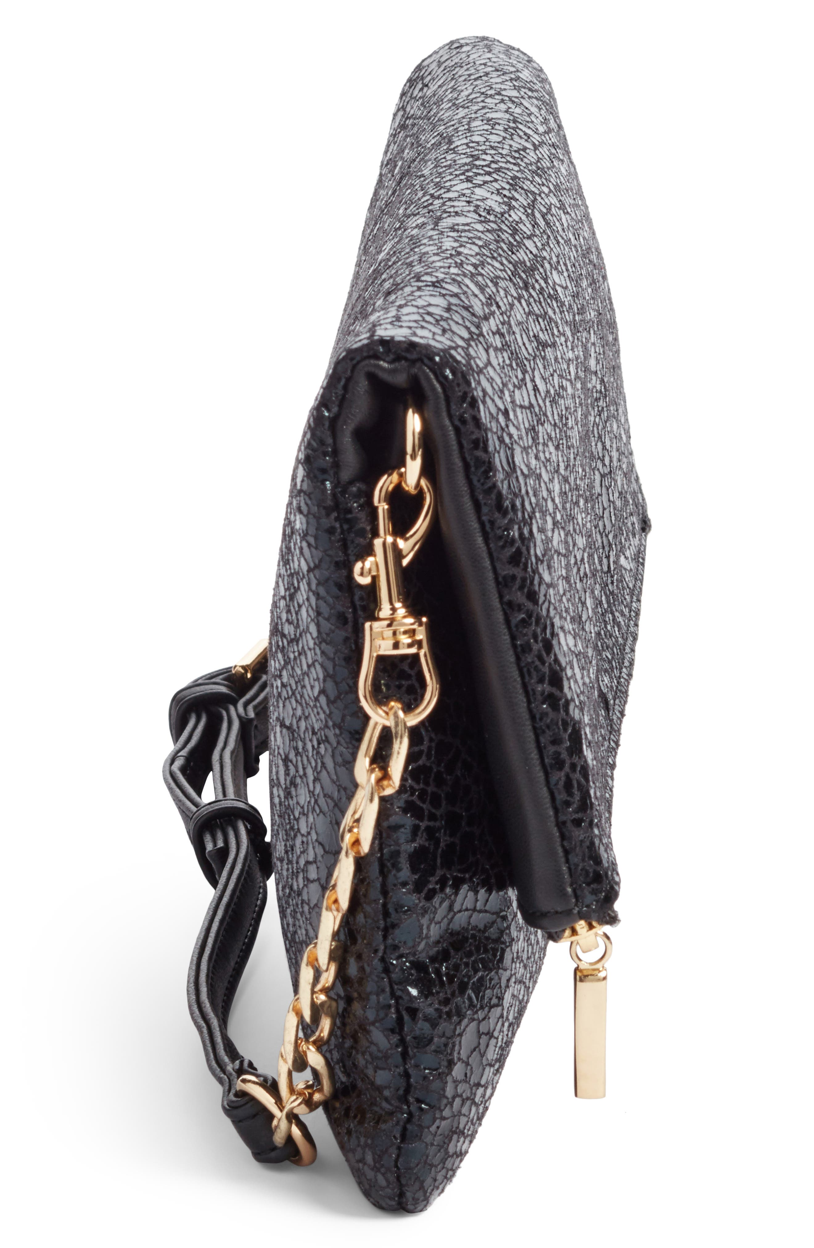 Alternate Image 5  - Sole Society Black Crackle Faux Leather Foldover Clutch