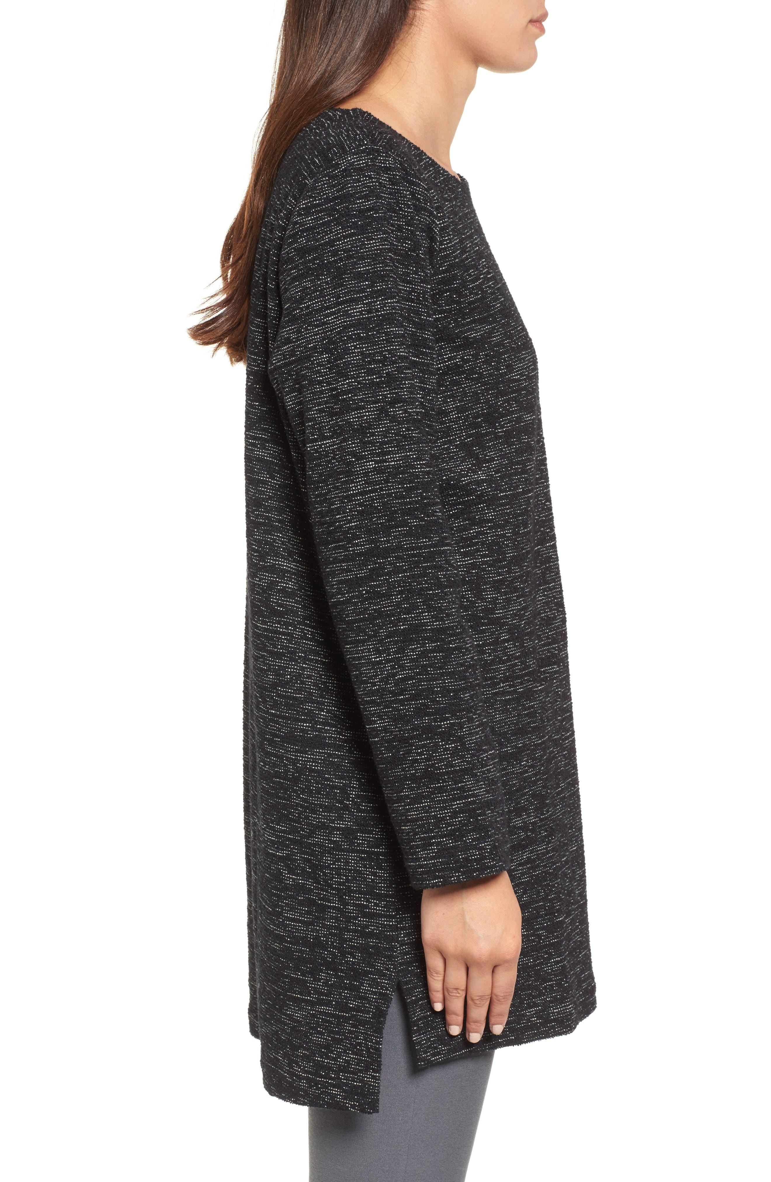 Boxy Organic Cotton Blend Tunic Sweater,                             Alternate thumbnail 3, color,                             Black