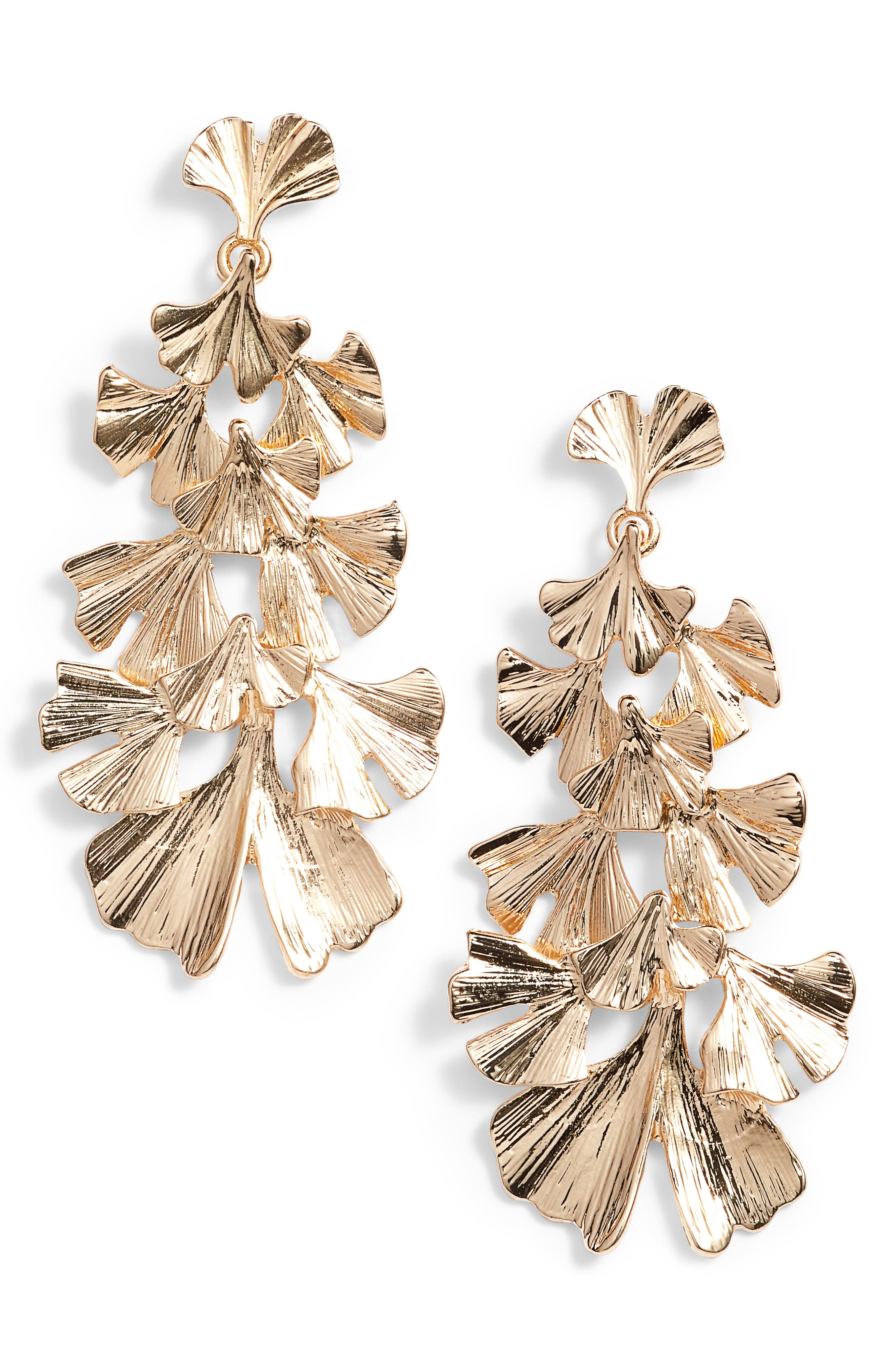Layered Leaf Earrings,                         Main,                         color, Gold