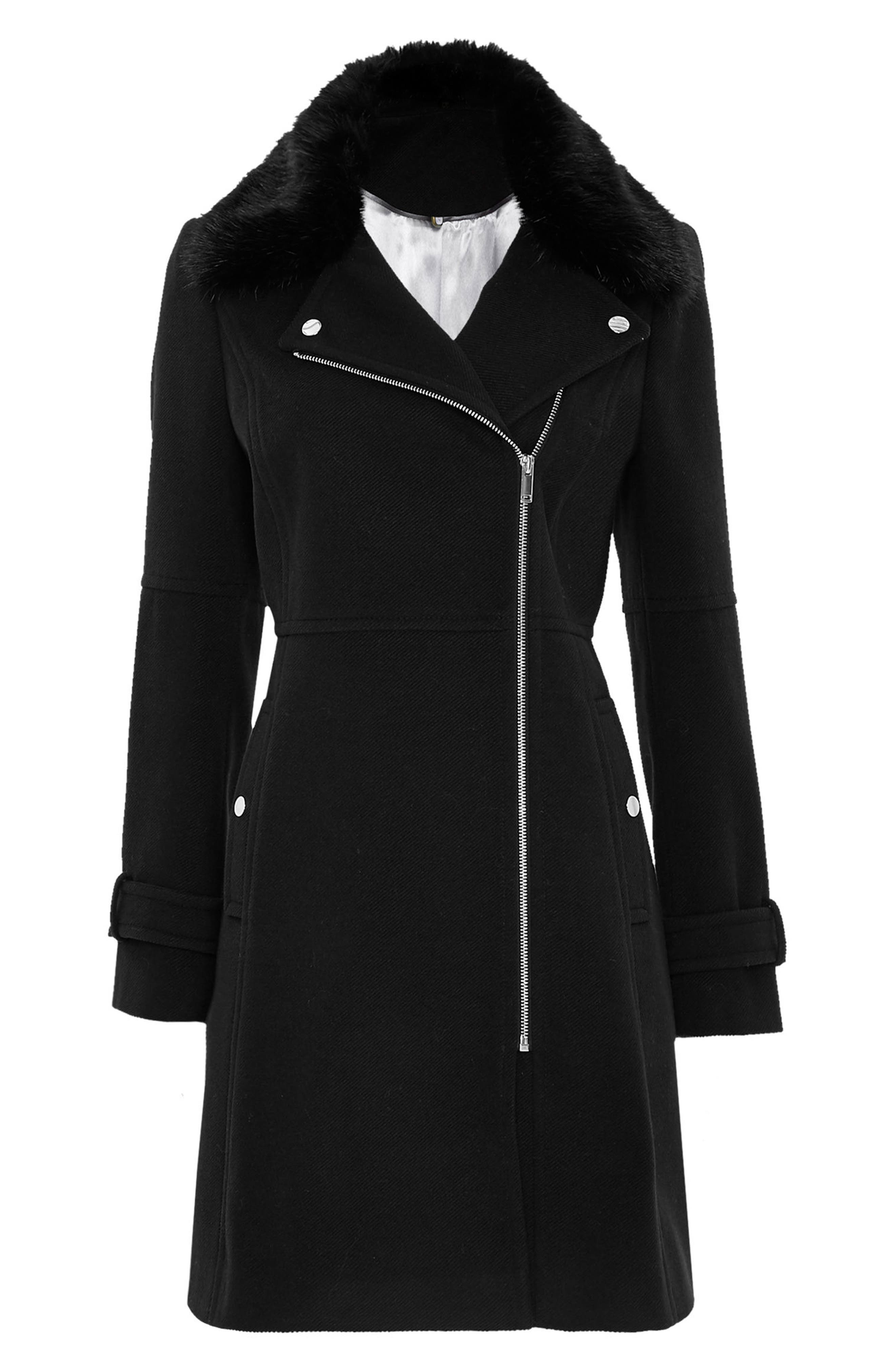 Twill Biker Jacket with Faux Fur Collar,                             Alternate thumbnail 4, color,                             Black