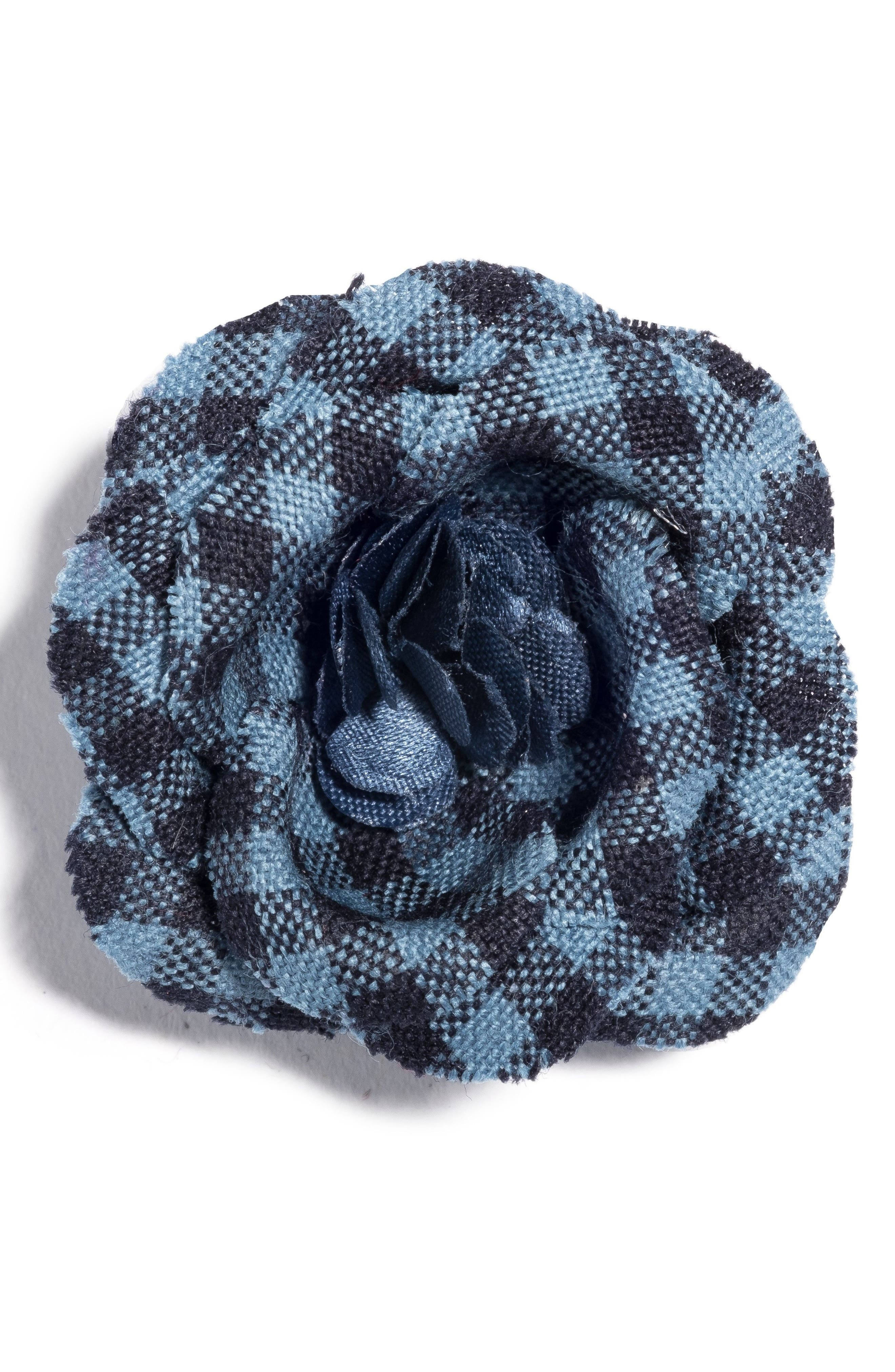 Poplin Check Lapel Flower,                             Main thumbnail 1, color,                             Blue