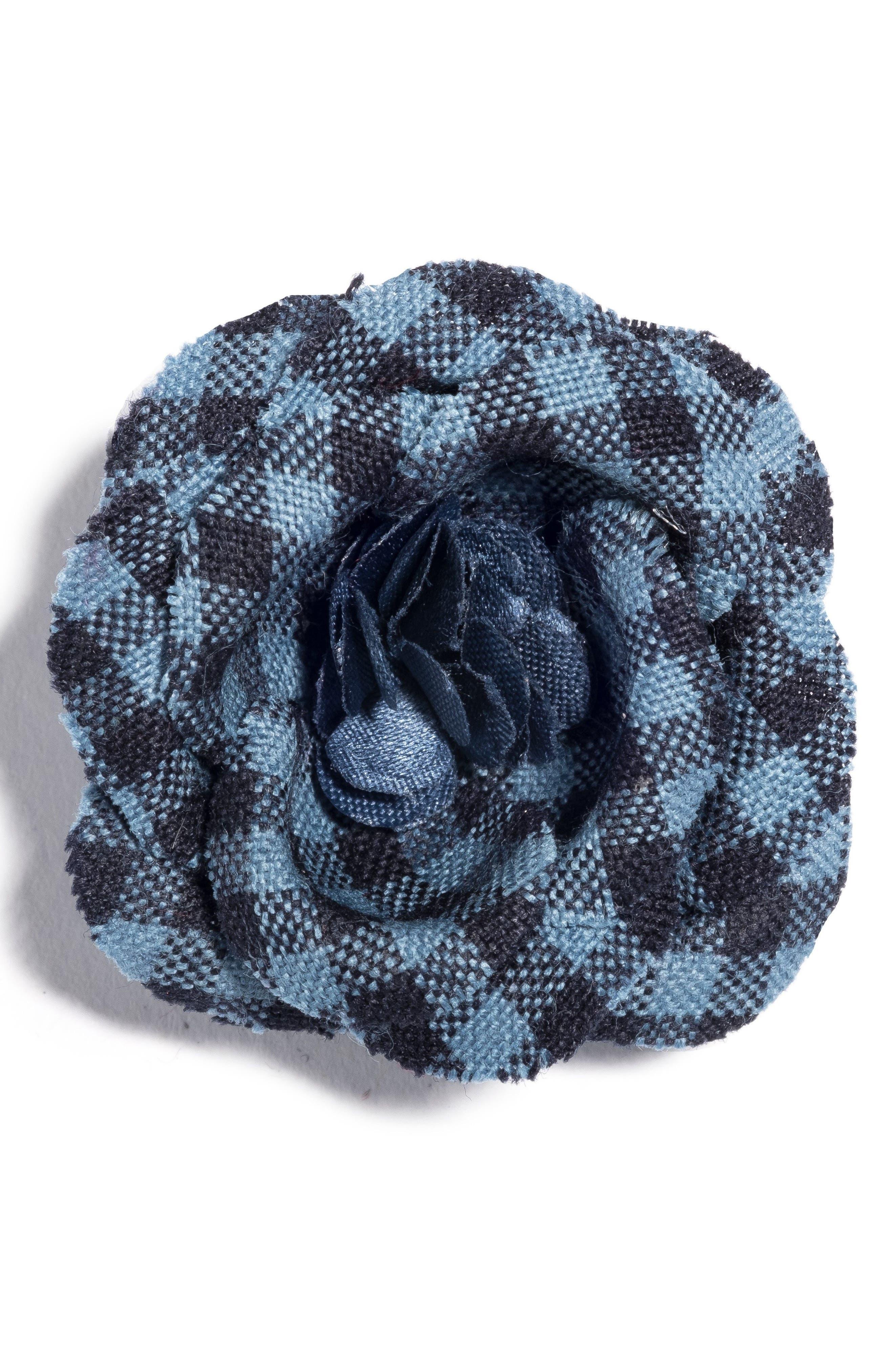 Poplin Check Lapel Flower,                         Main,                         color, Blue