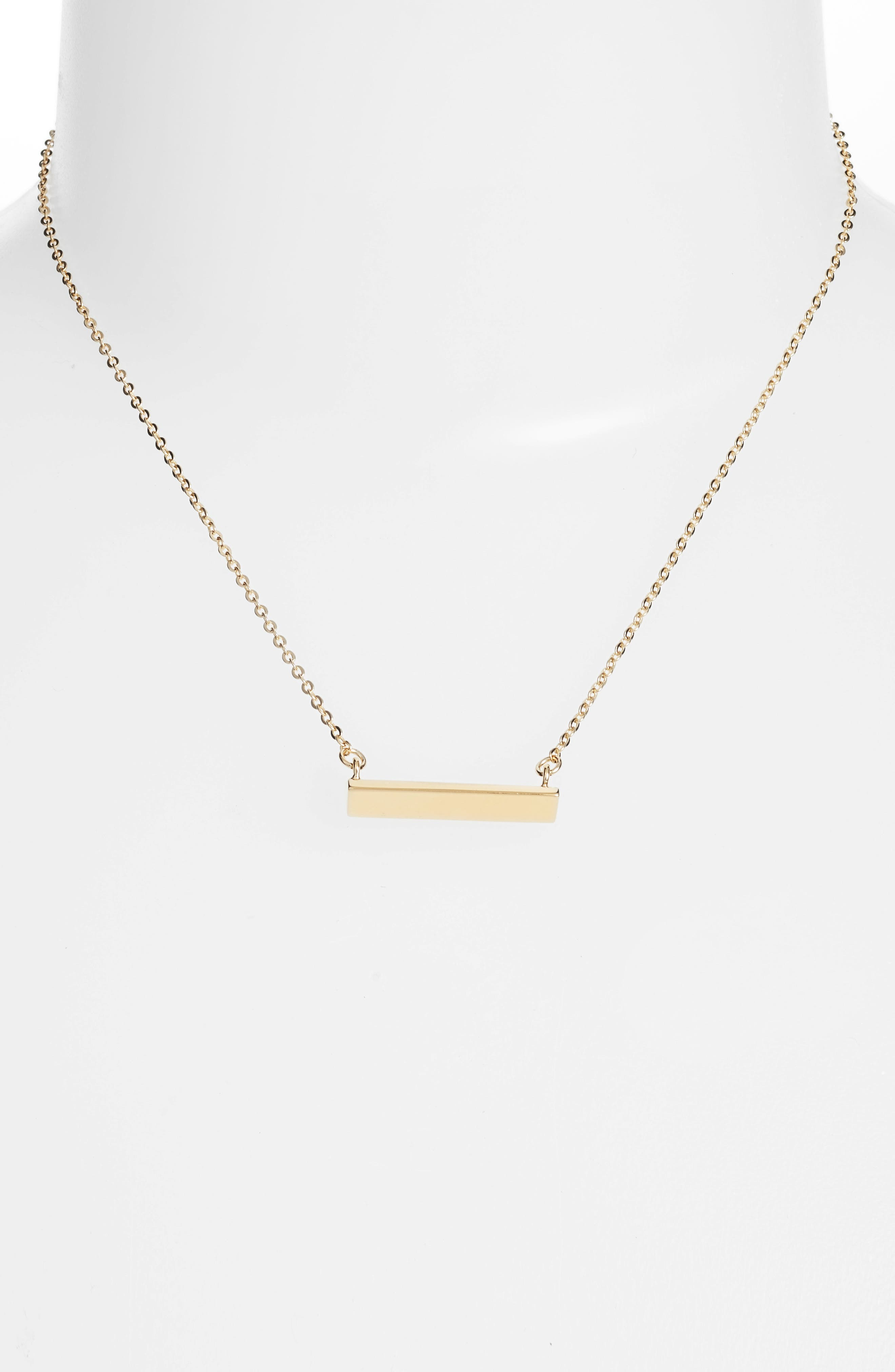 Diamond Shaped Bar Pendant Necklace,                             Alternate thumbnail 2, color,                             Gold