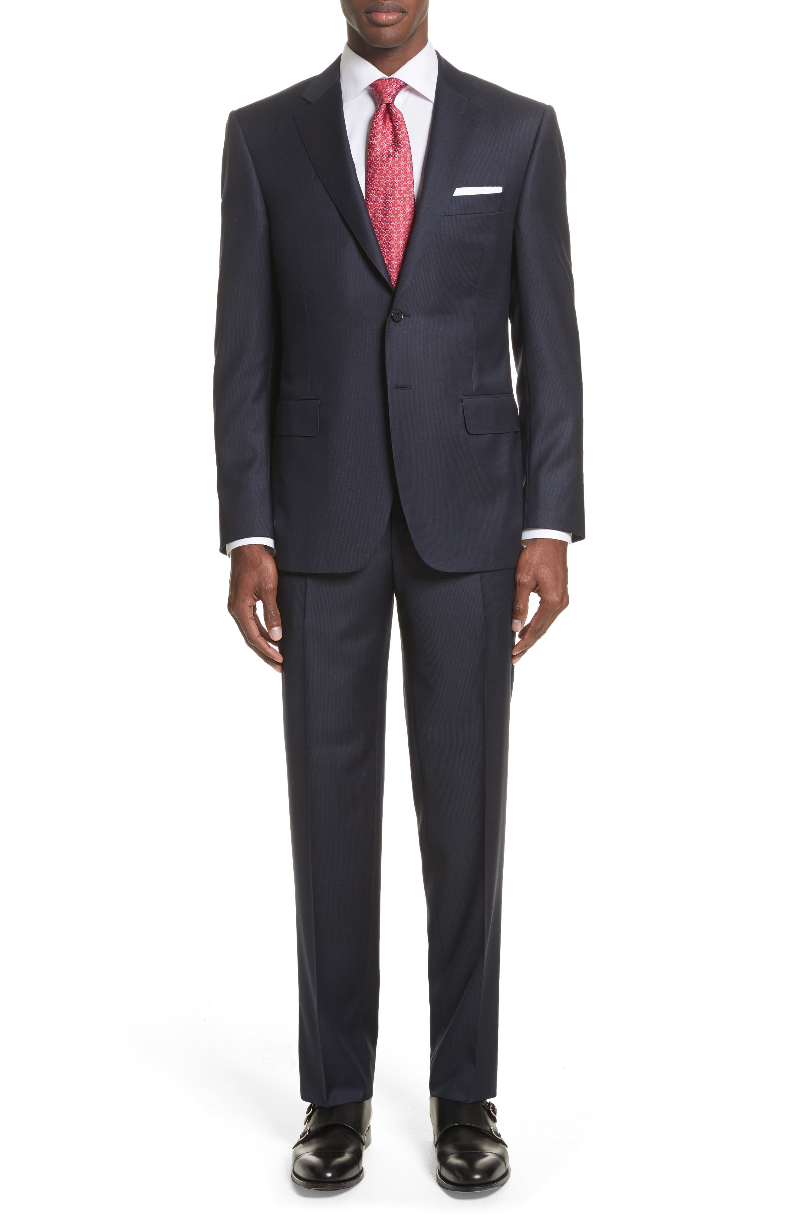 Canali Classic Fit Tonal Stripe Wool Suit