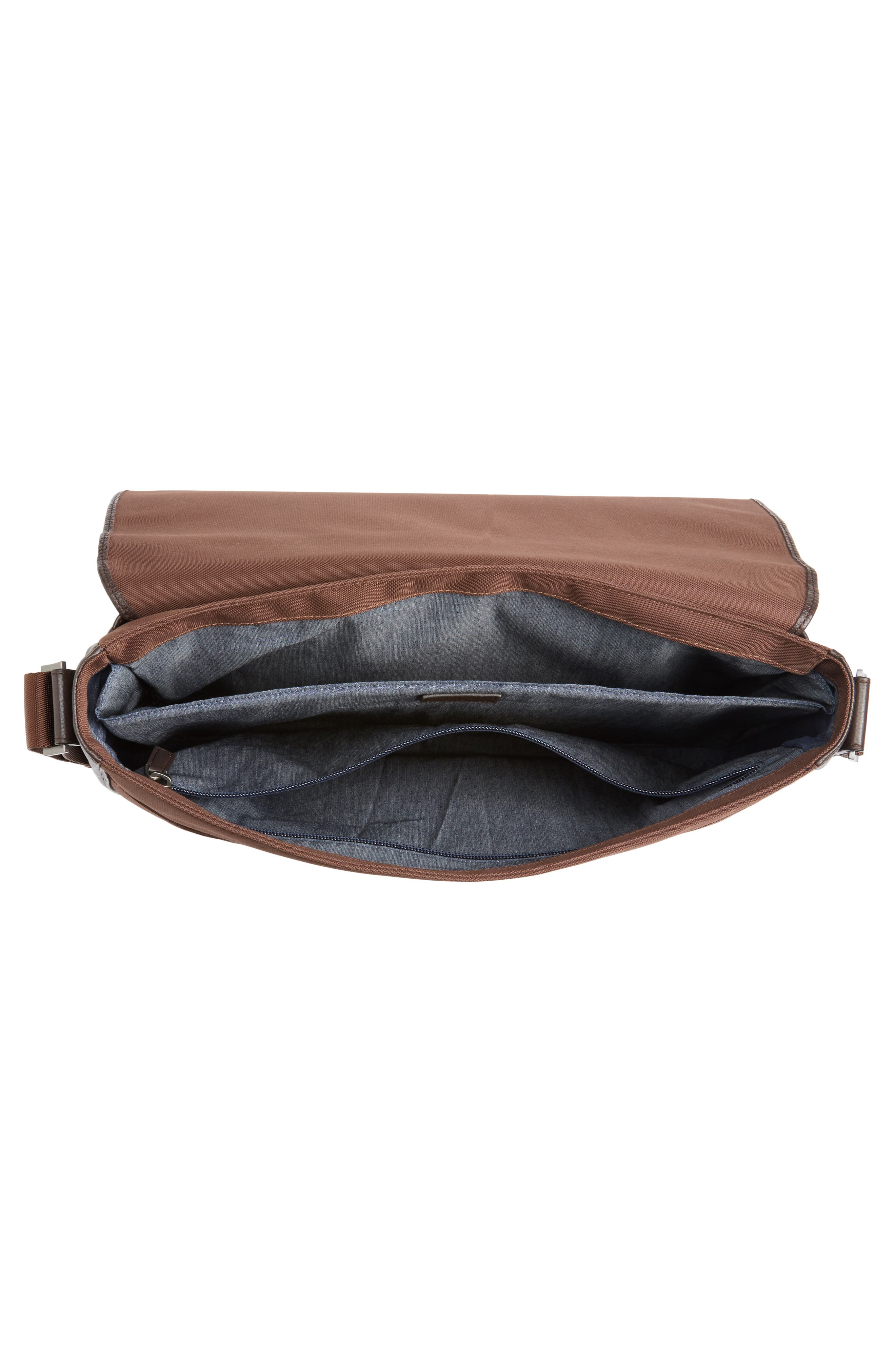 Midland Leather Messenger Bag,                             Alternate thumbnail 4, color,                             Brown