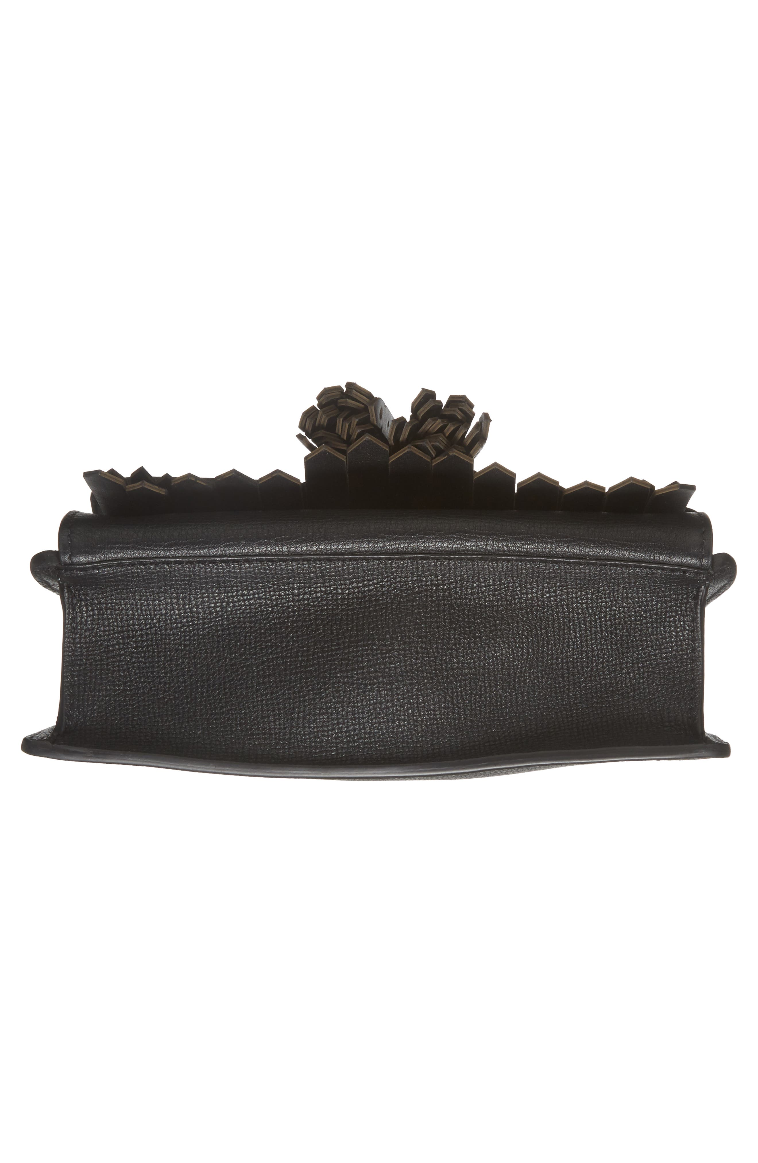 Macken Fringe Leather Crossbody Bag,                             Alternate thumbnail 6, color,                             Black