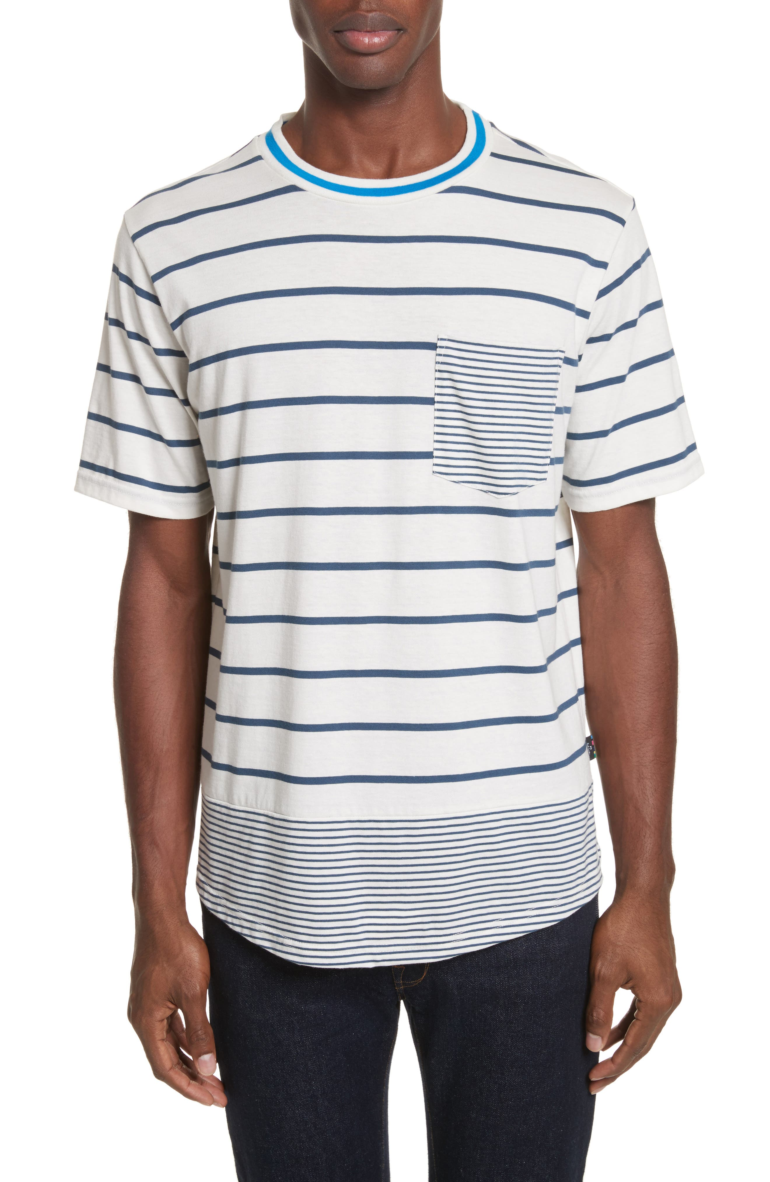 66c30c3d98 PS BY PAUL SMITH MIXED-STRIPED ORGANIC COTTON T-SHIRT, NAVY   ModeSens
