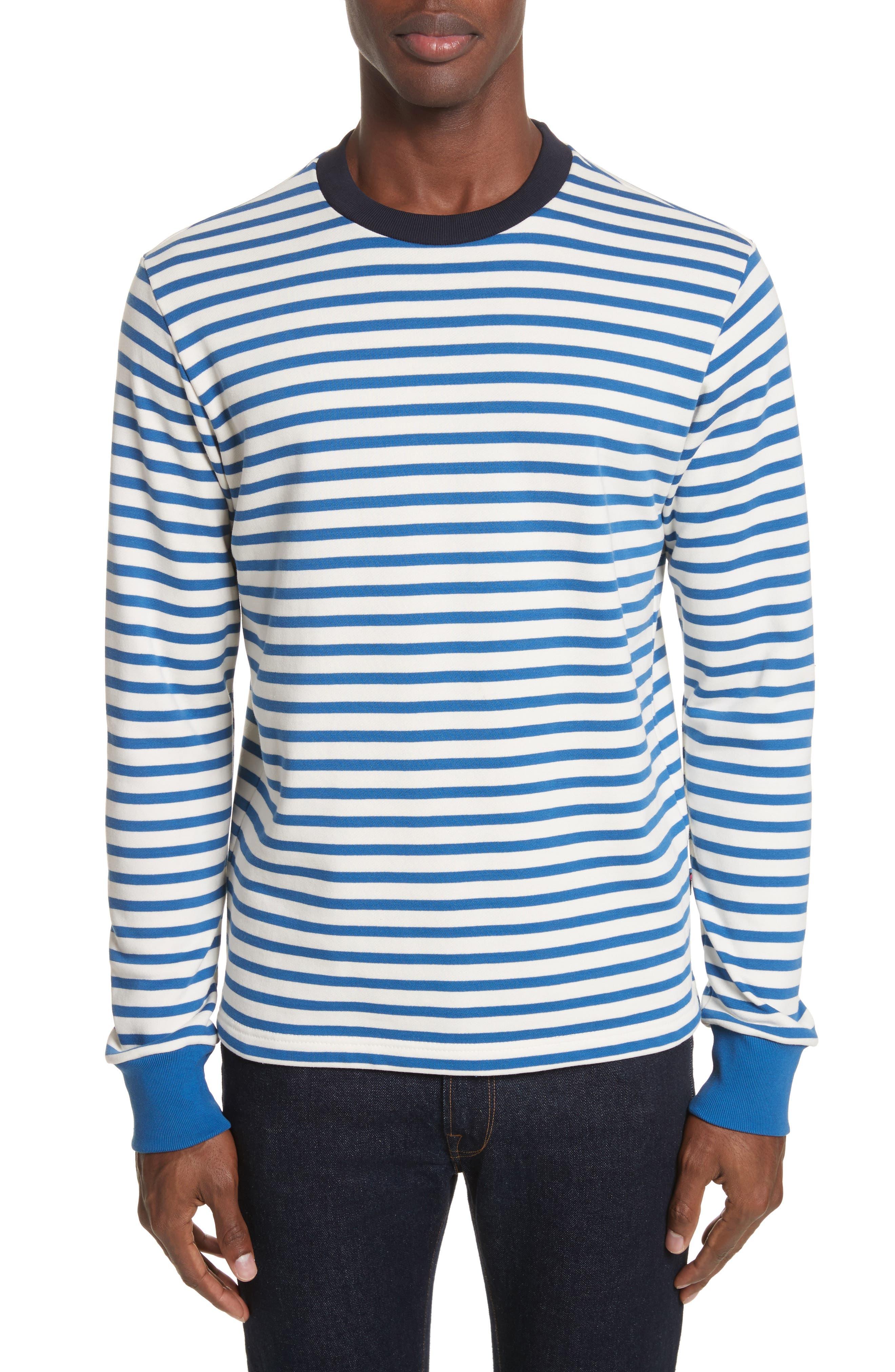 Stripe Crewneck Sweatshirt,                         Main,                         color, Indigo