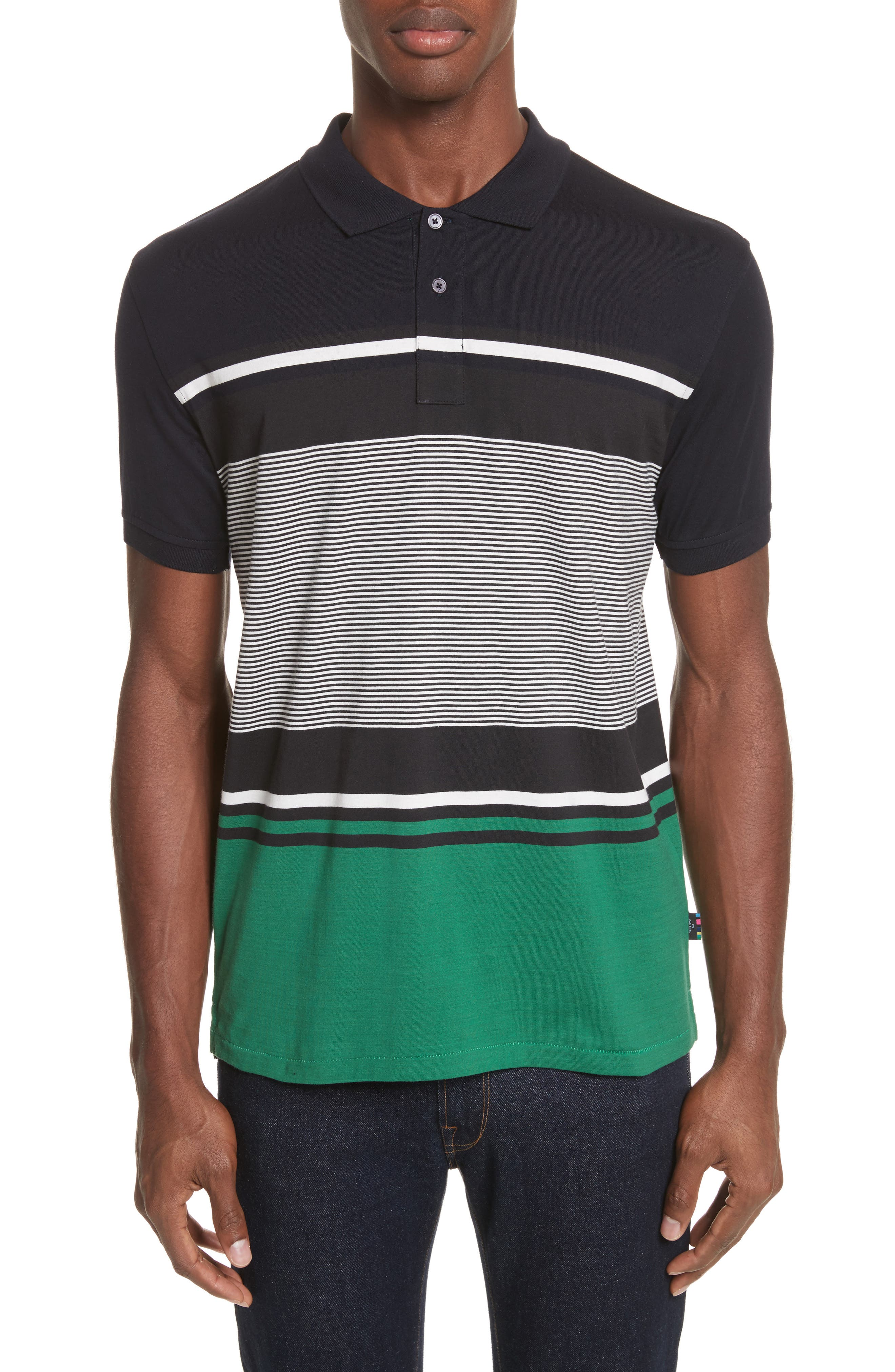 Stripe Jersey Polo,                         Main,                         color, Navy