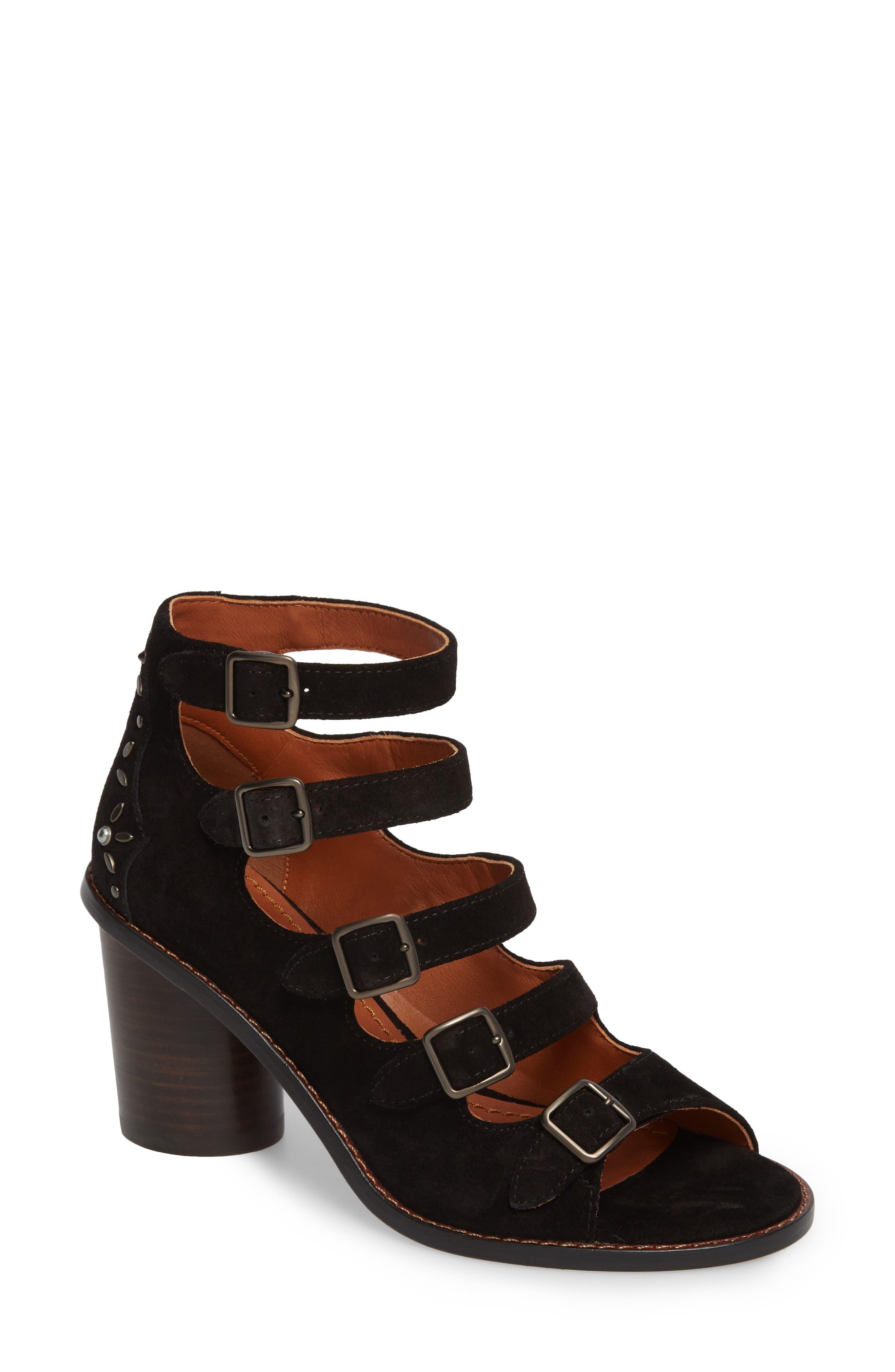 Prairie Rivet Buckle Sandal,                             Main thumbnail 1, color,                             Black Suede