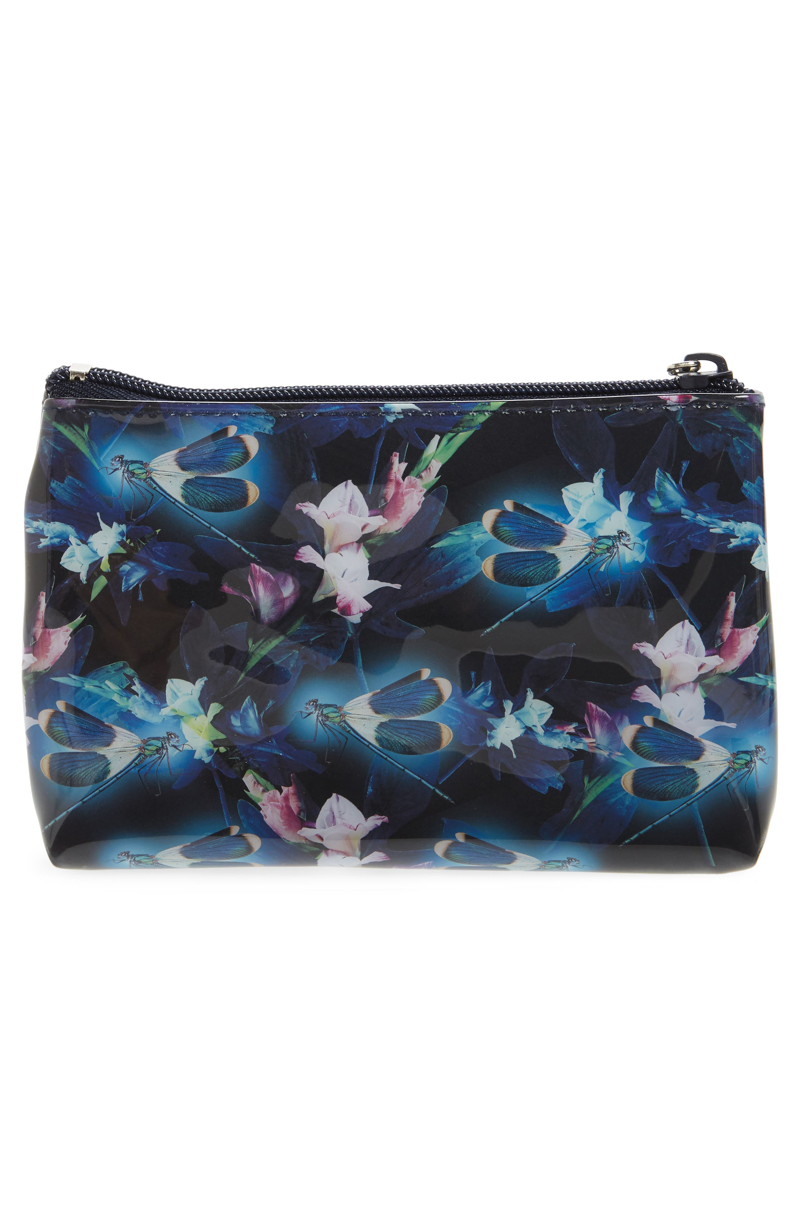 Night Blooms Cosmetics Pouch,                             Alternate thumbnail 2, color,                             Black