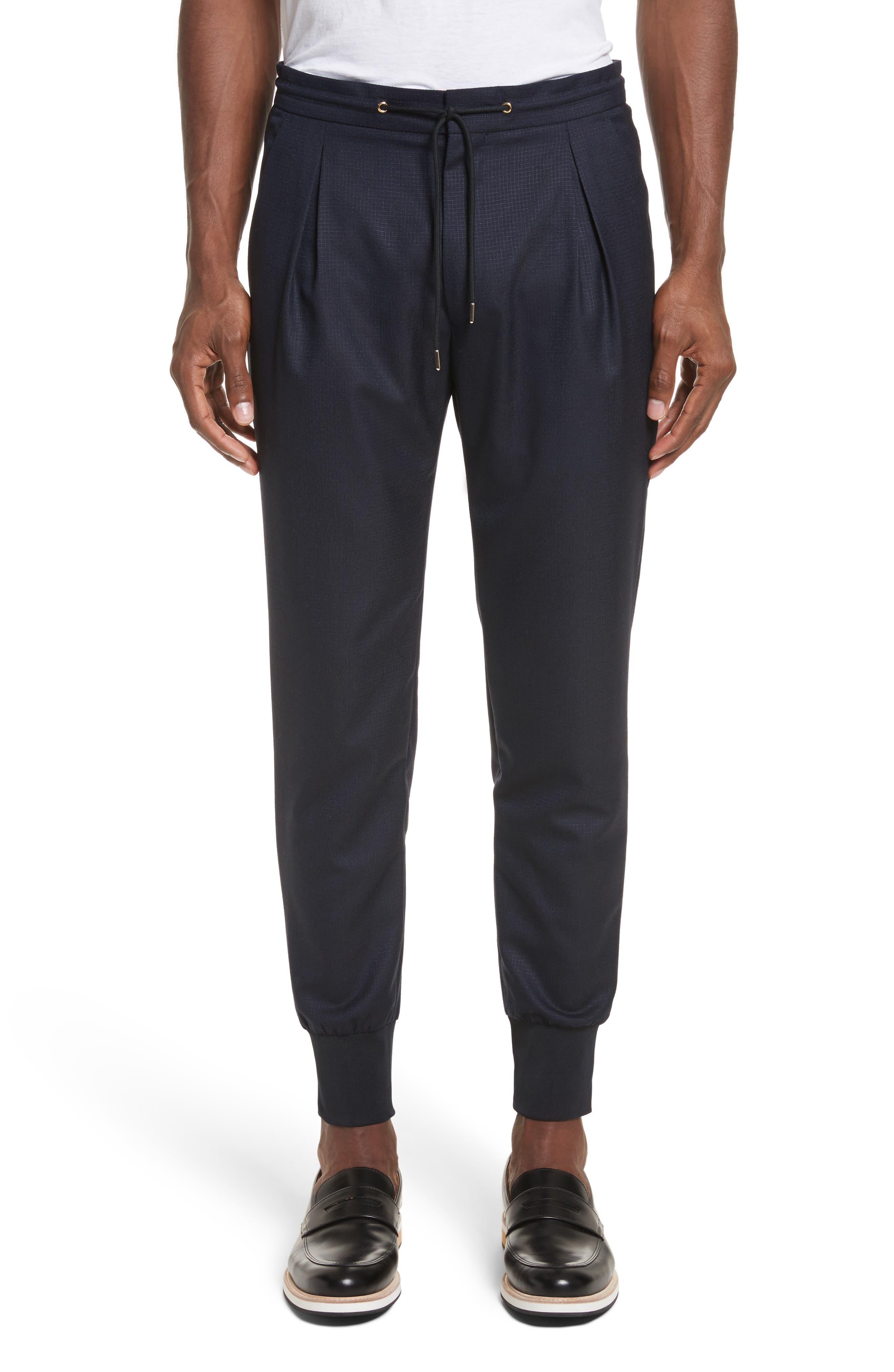 Wool & Silk Jogger Pants,                             Main thumbnail 1, color,                             48 Blue