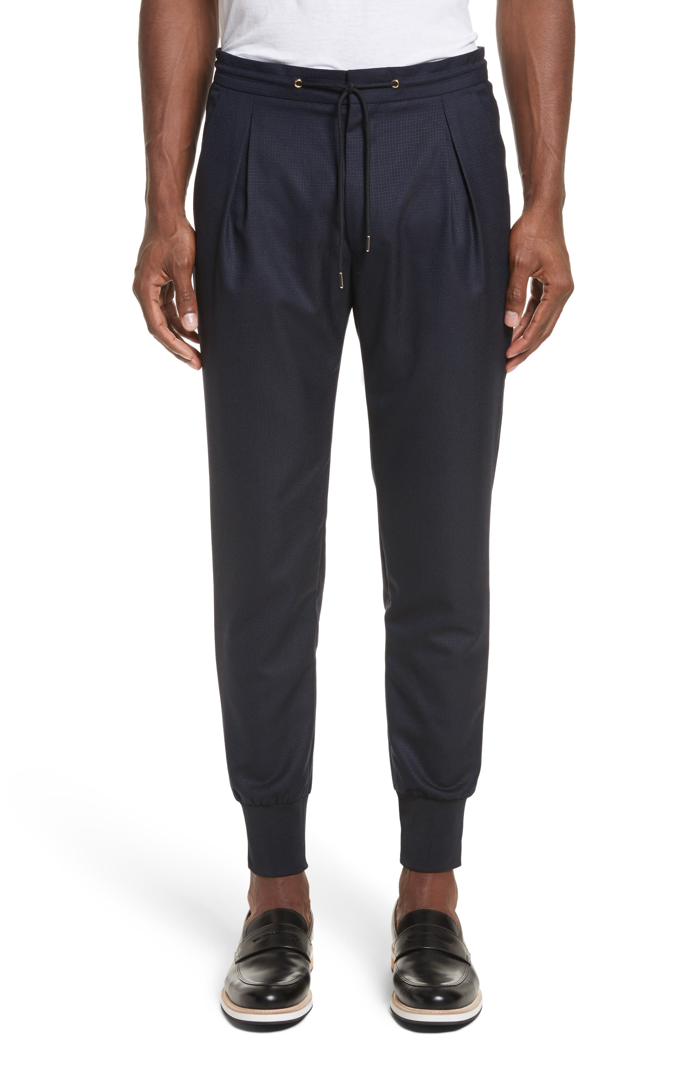 Wool & Silk Jogger Pants,                         Main,                         color, 48 Blue