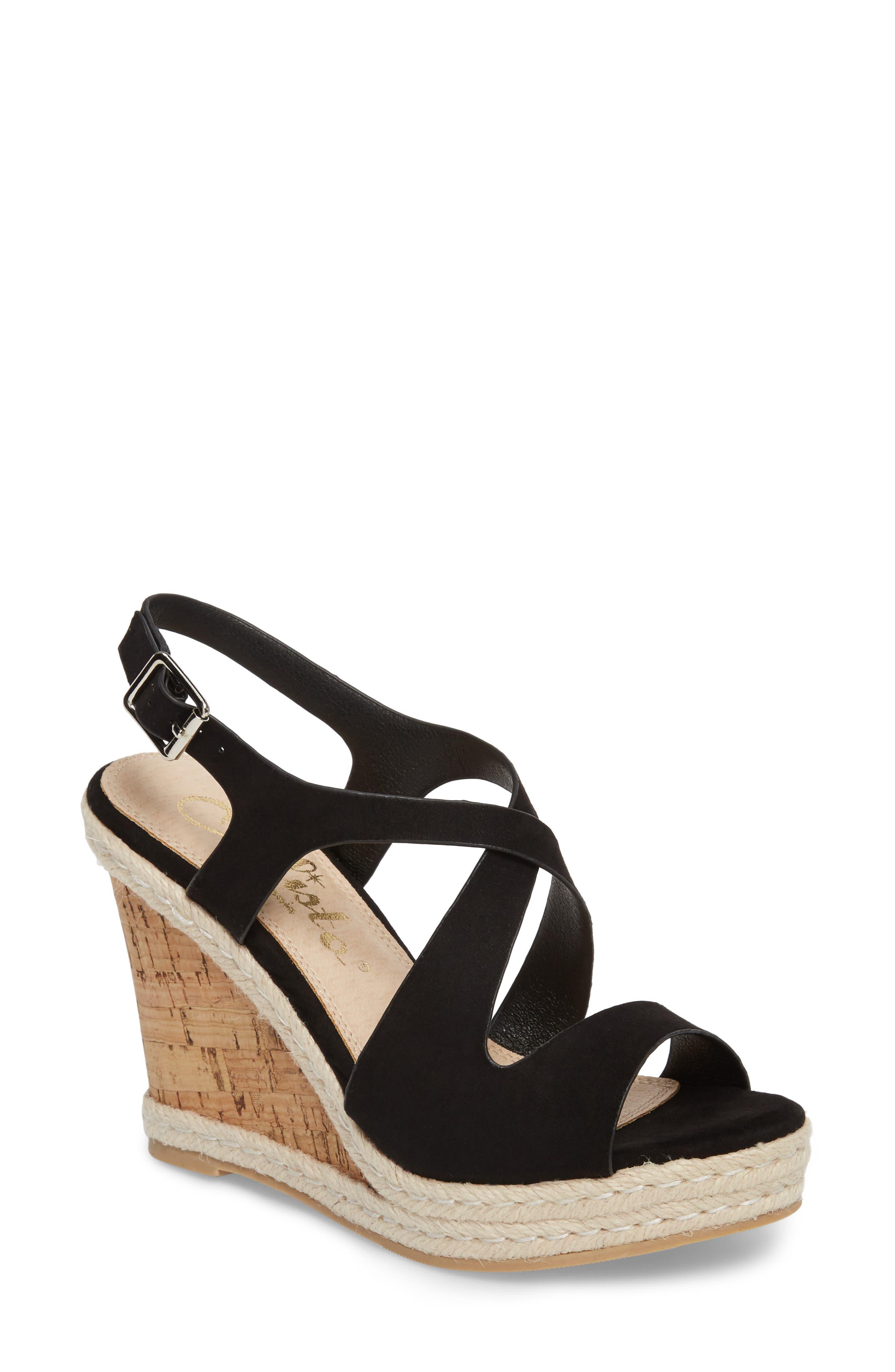 Brielle Wedge Sandal,                         Main,                         color, Black Suede