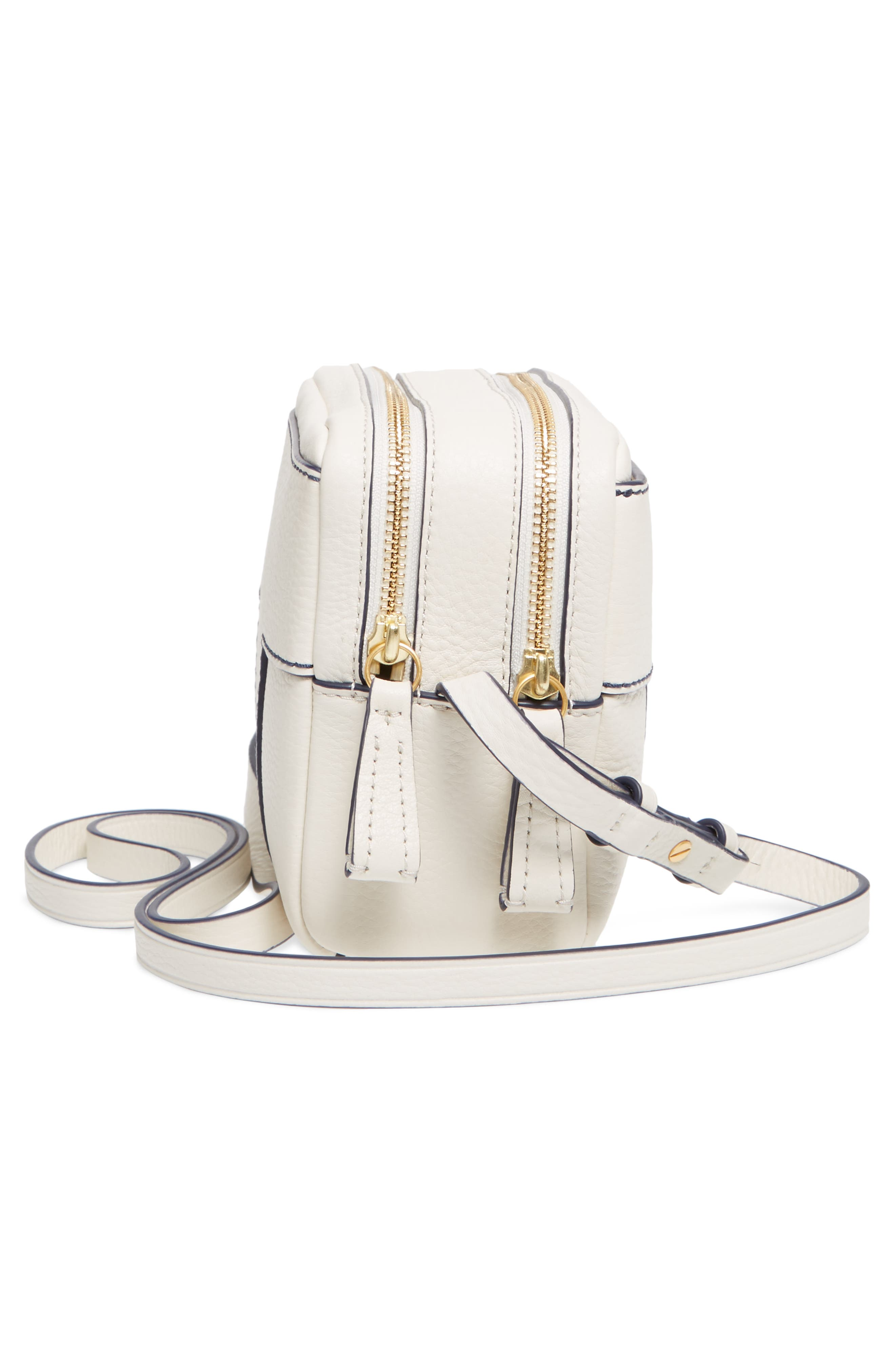 Block-T Double Zip Leather Crossbody Bag,                             Alternate thumbnail 5, color,                             New Ivory