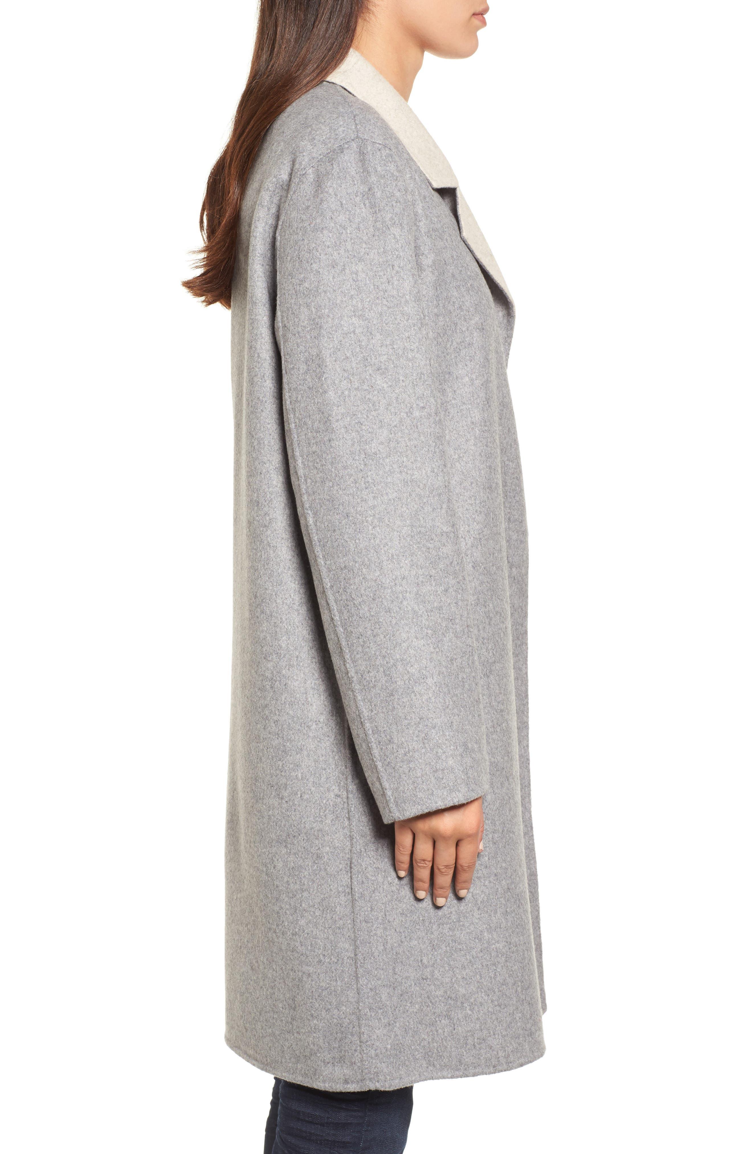 Notch Collar Long Wool Blend Jacket,                             Alternate thumbnail 4, color,                             Dark Pearl/ Maple Oat