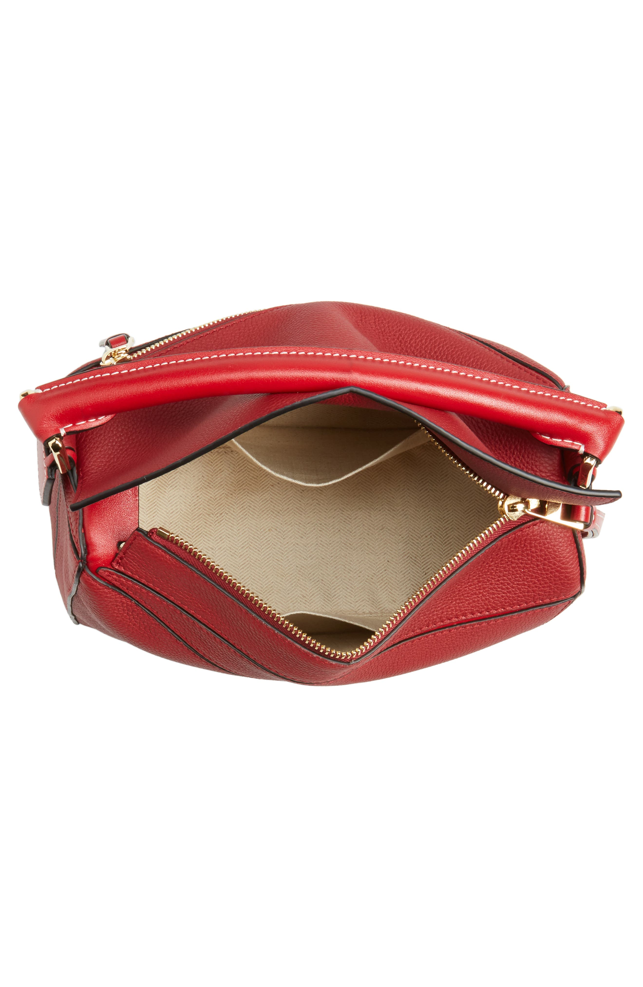 Small Puzzle Leather Shoulder Bag,                             Alternate thumbnail 4, color,                             Rouge