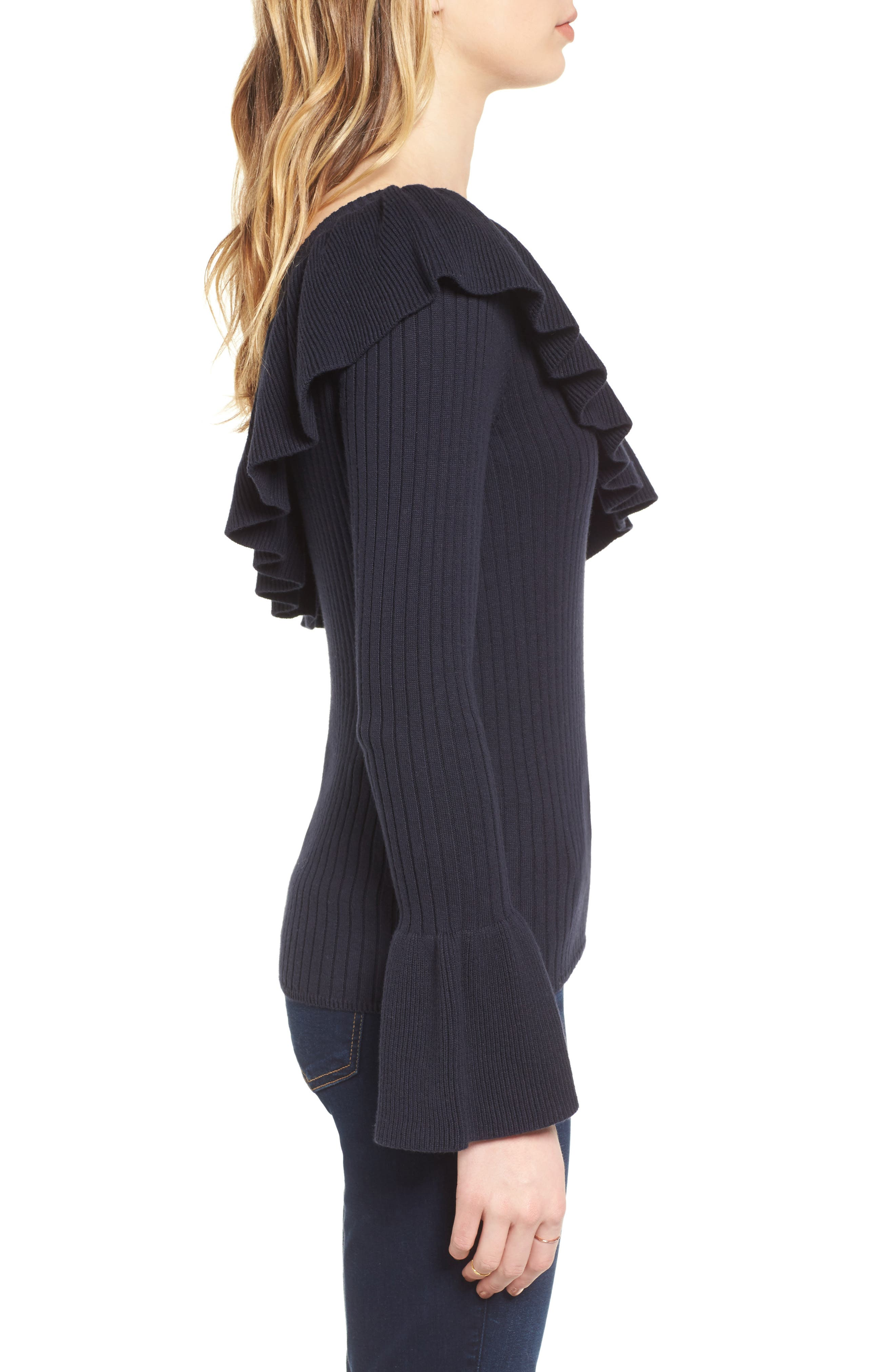Ava One Shoulder Cotton & Cashmere Sweater,                             Alternate thumbnail 3, color,                             Navy