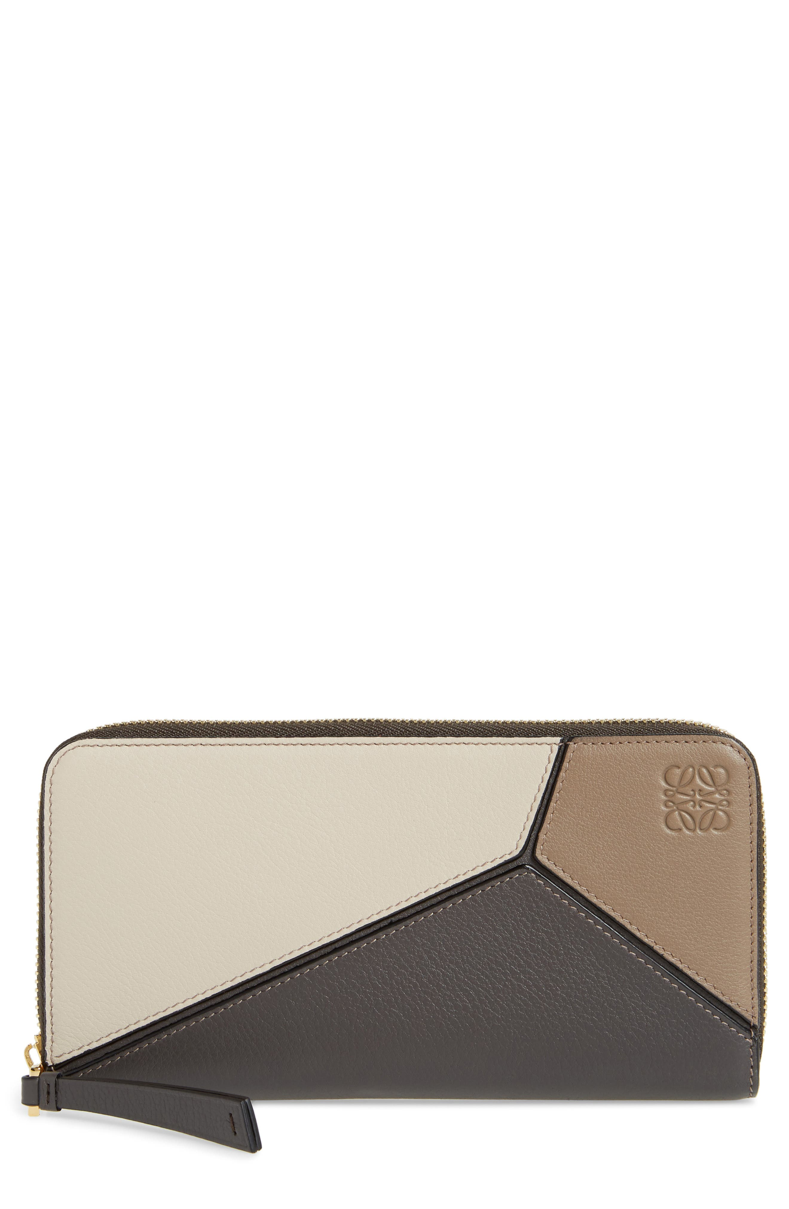 Puzzle Leather Zip Around Wallet,                         Main,                         color, Dark Taupe Multitone