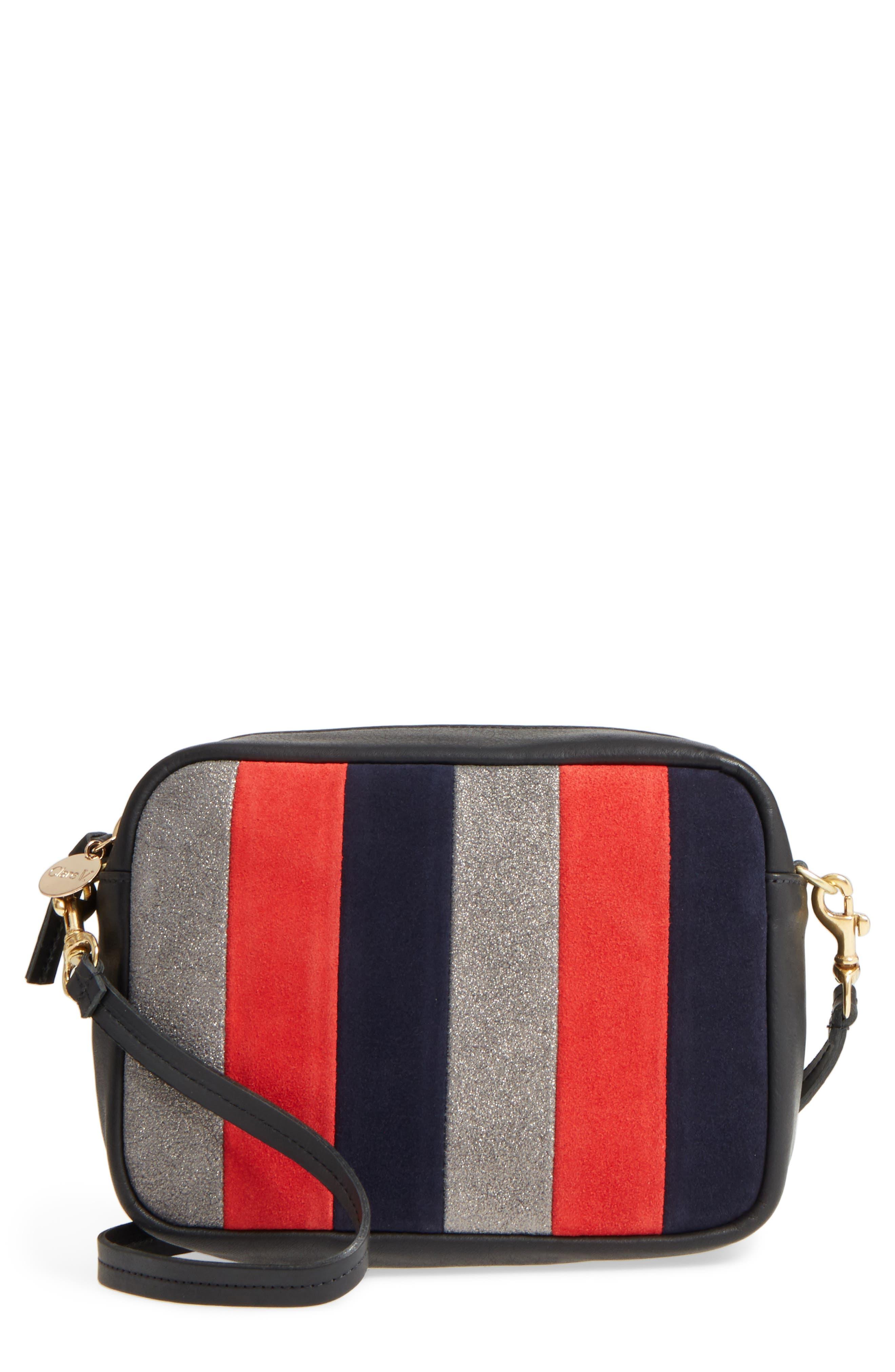 Clare V Midi Sac Stripe Leather Crossbody Bag